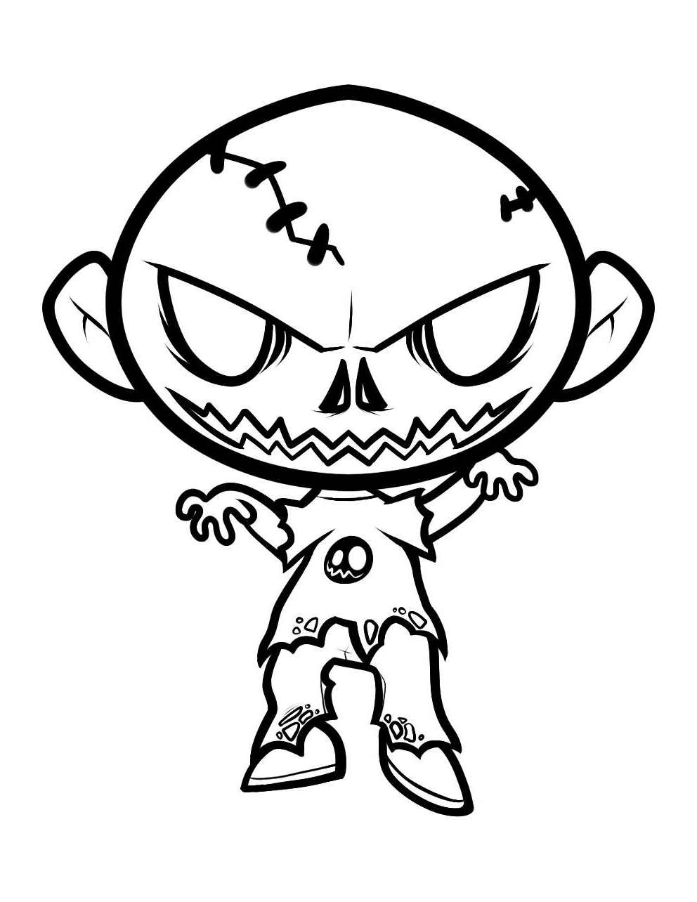 Funny Zombies coloring page for kids