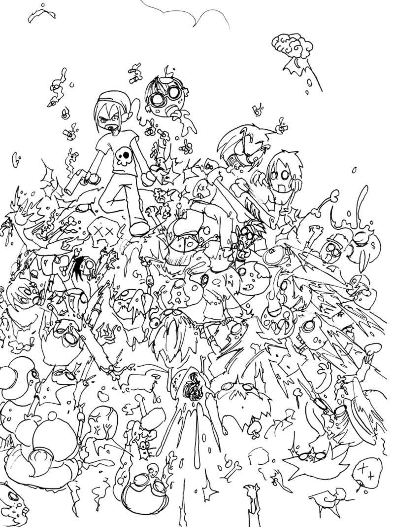 Free Zombies coloring page to print and color, for kids