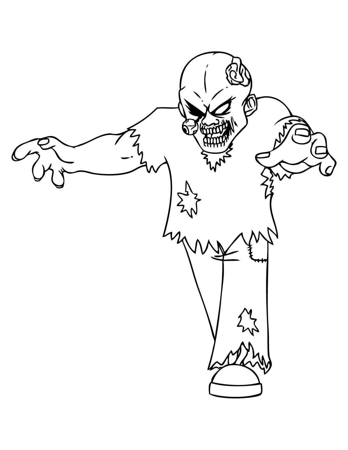 Simple zombies coloring page to print and color for free