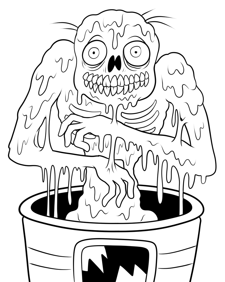 Zombies coloring page with few details for kids