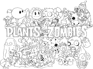 Coloring page zombies for kids
