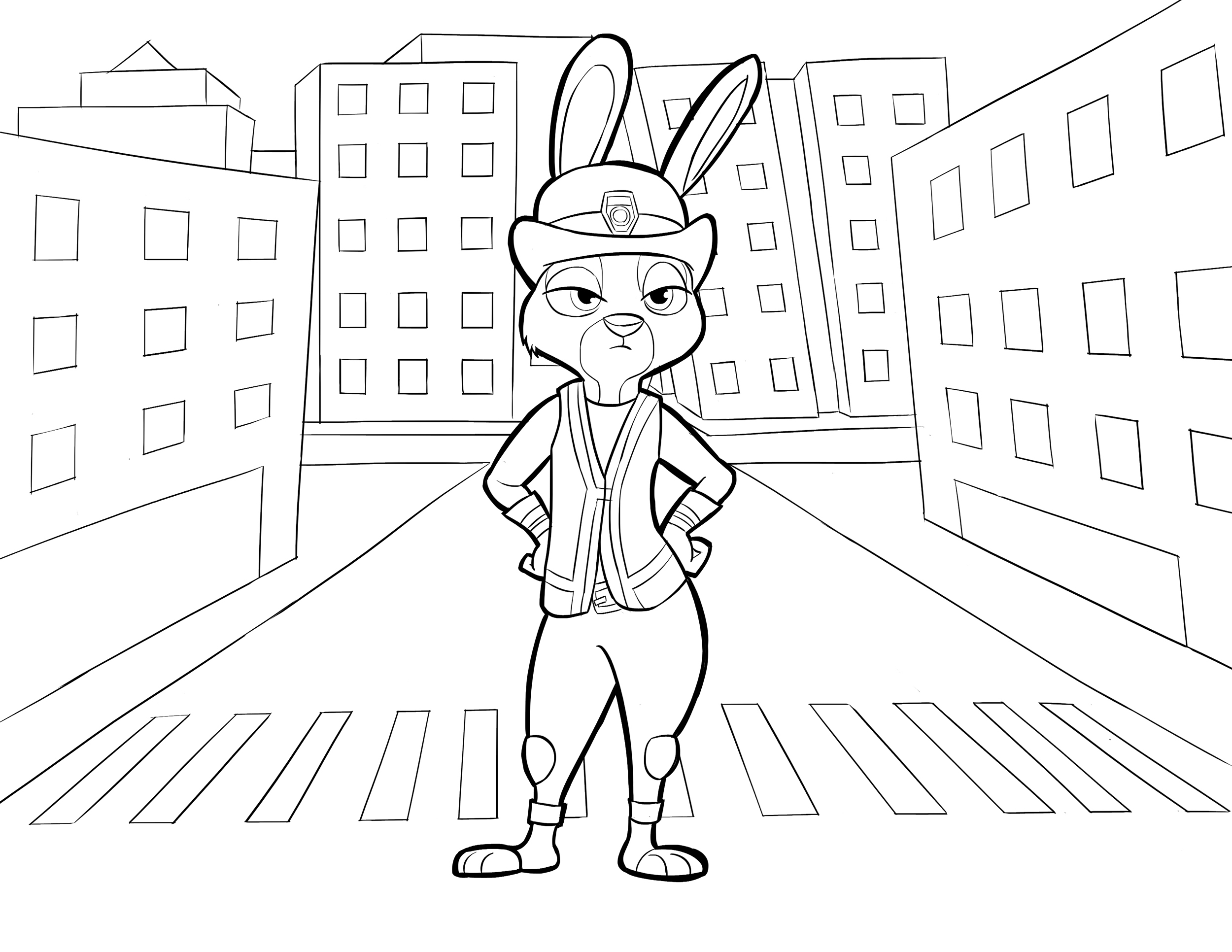 Incredible Zootopia coloring page to print and color for free : Judy Hopps in the street