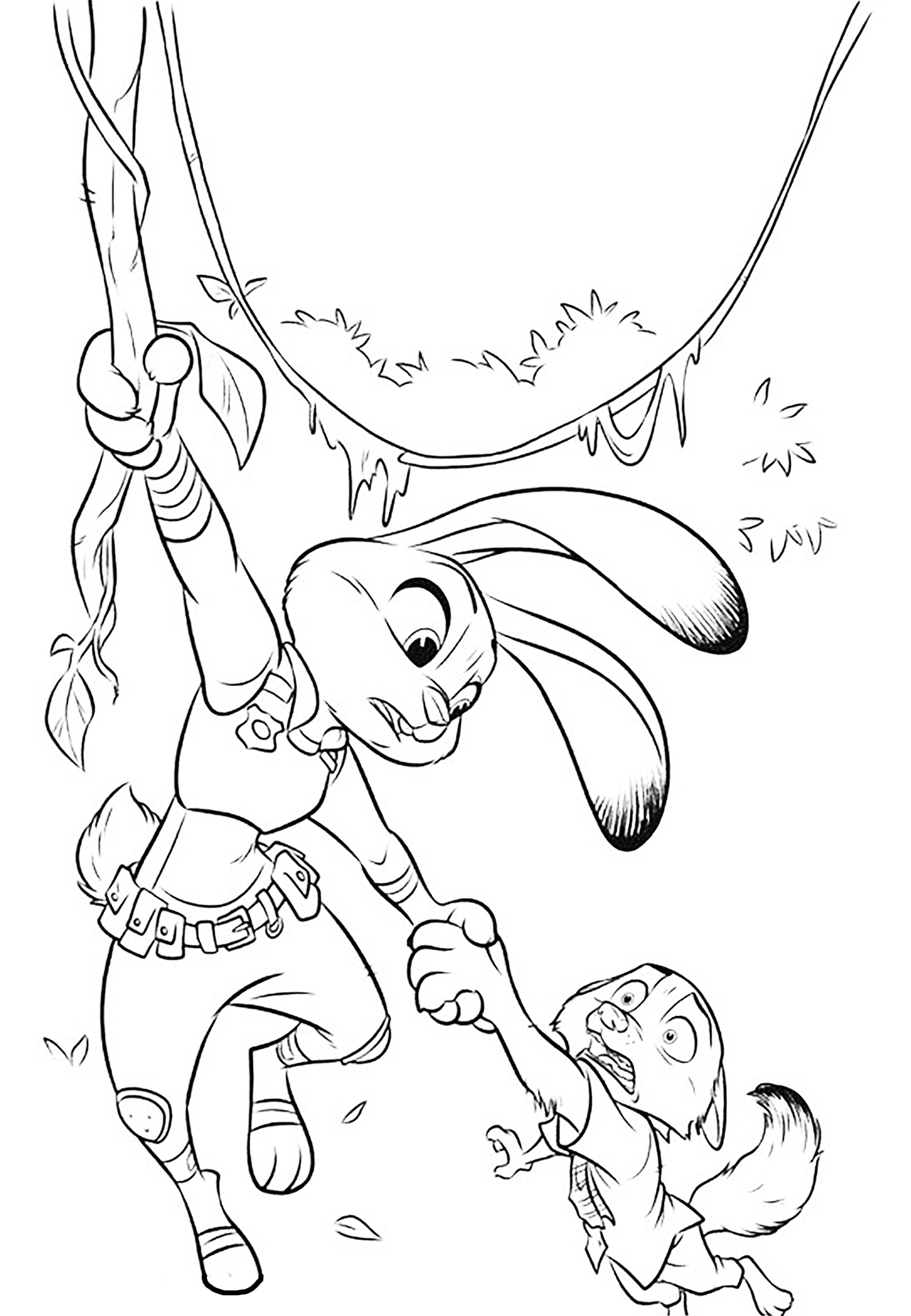 Incredible Zootopia coloring page to print and color for free : Judy Hopps helping her friend