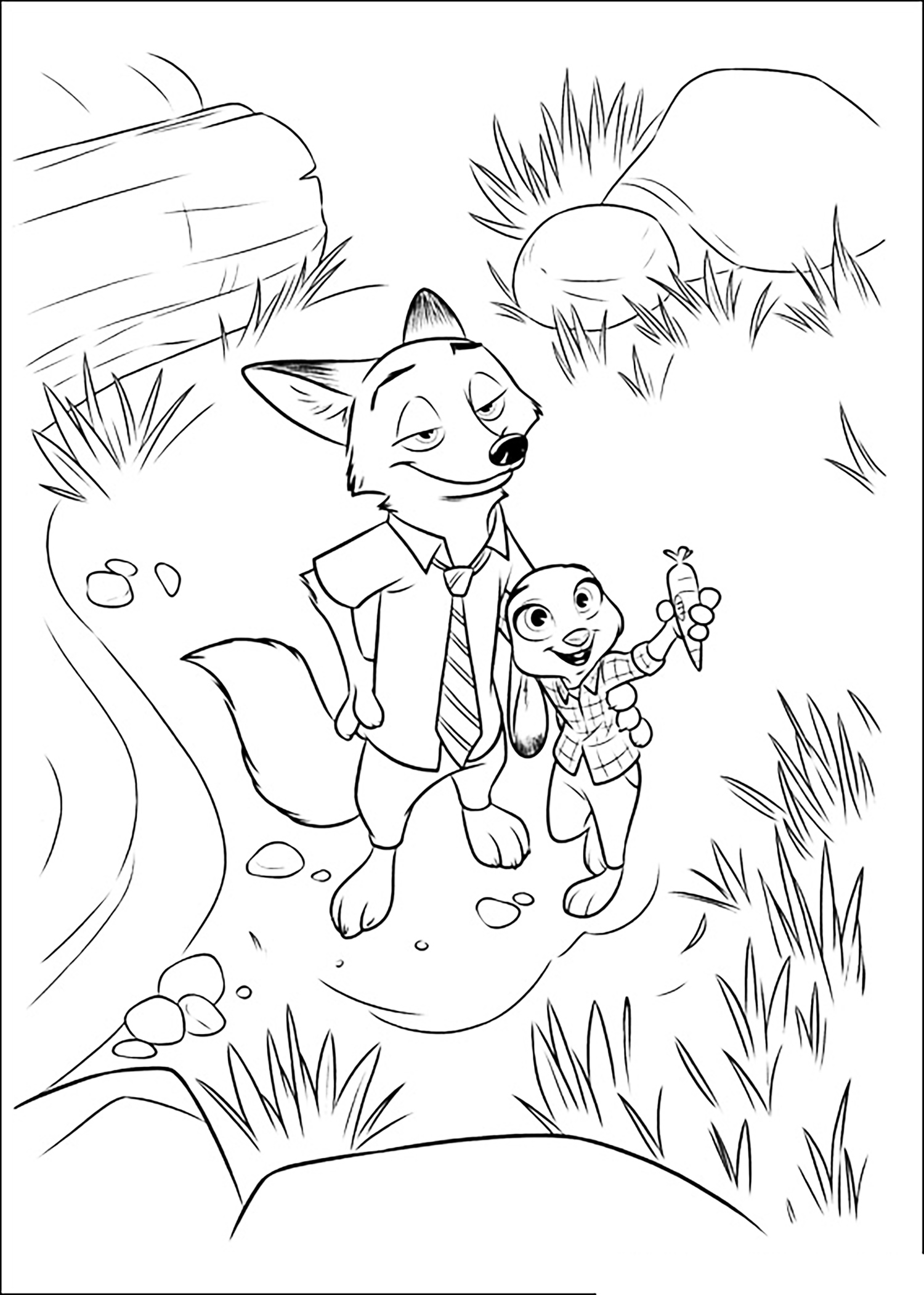 Beautiful Zootopia coloring page to print and color : Judy Hopps with Nick Wilde