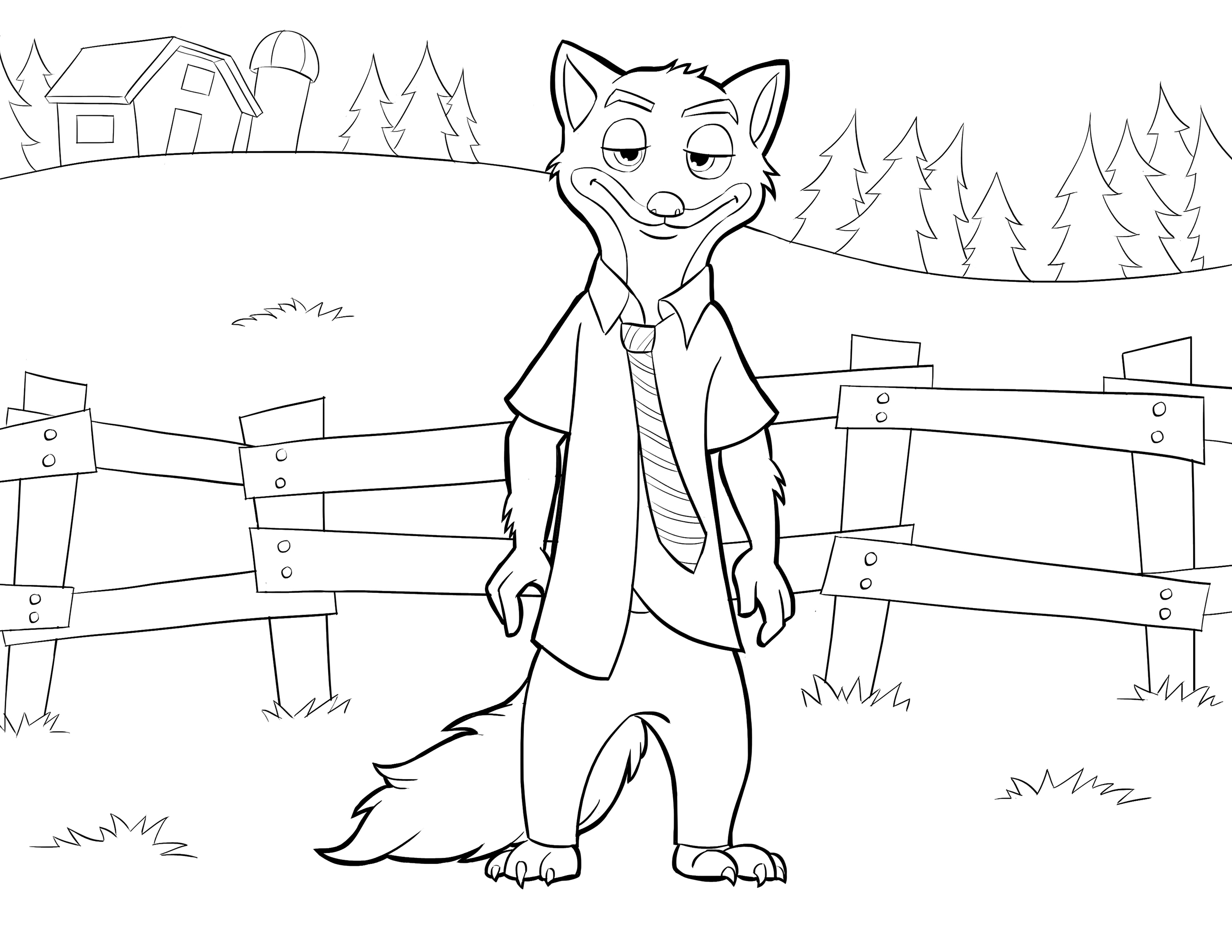 Zootopia coloring page to download : Nick Wilde with background