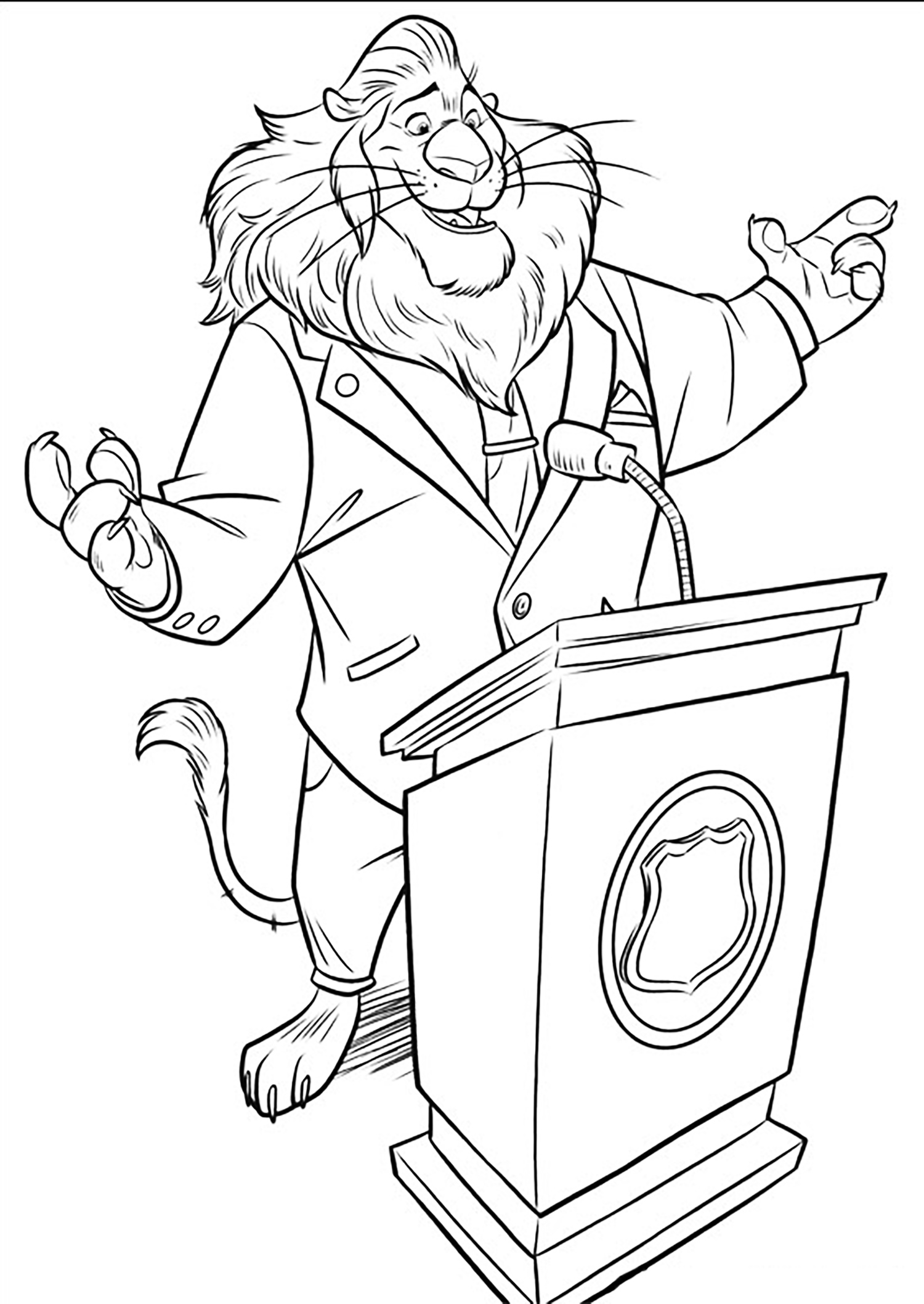 Simple Zootopia coloring page to print and color for free : Mayor Lionheart