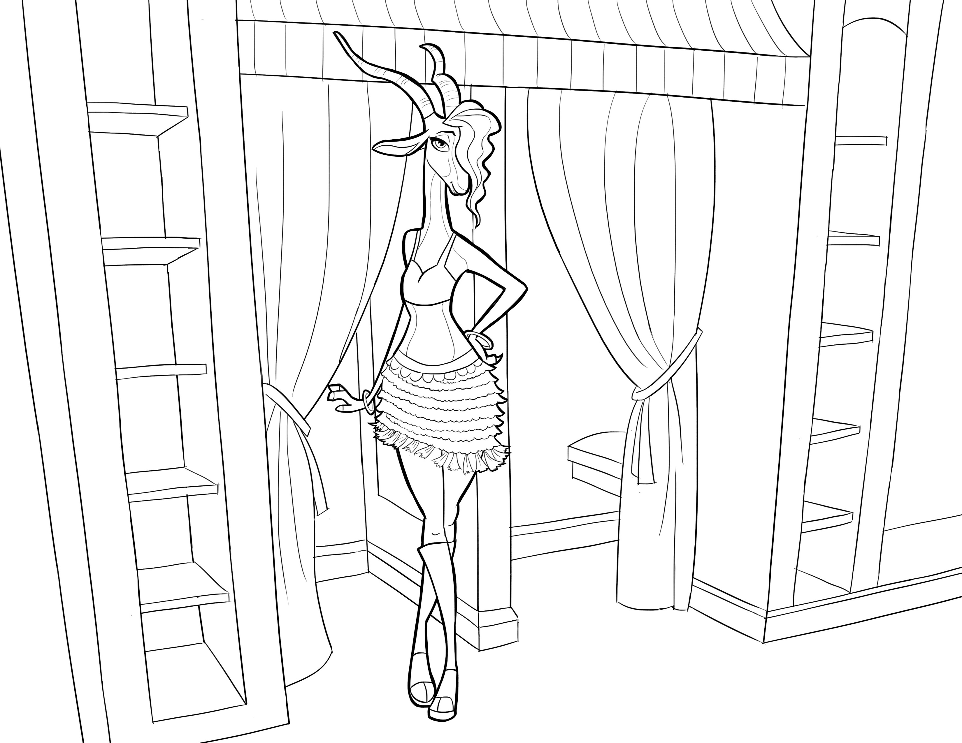 Free Zootopia coloring page to download : the Beautiful Gazelle