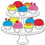 Cupcakes Coloring Pages for Adults