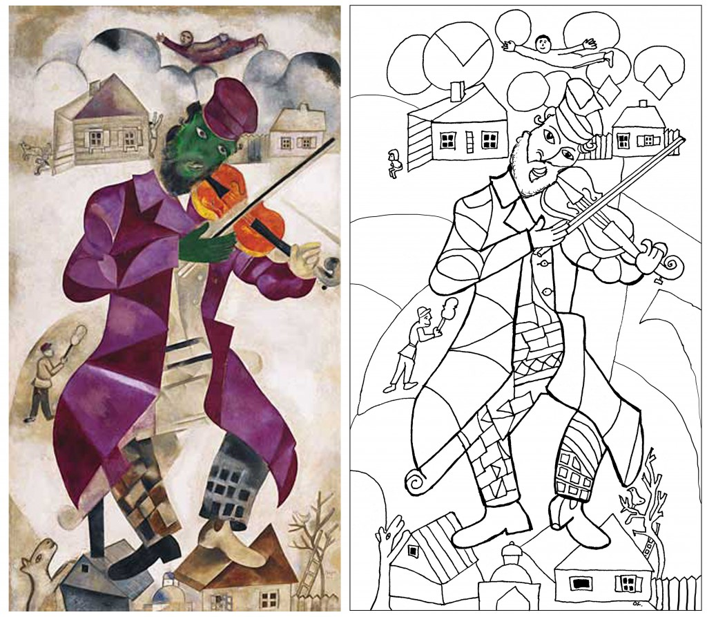 New coloring page from a Marc Chagall