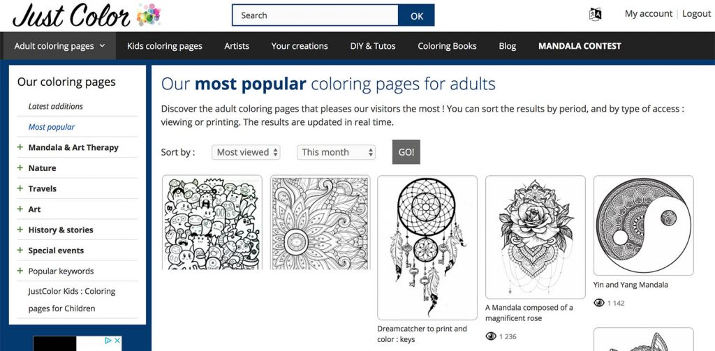 Access Directy To The Most Popular Coloring Pages Of Website Rhjustcolor: Coloring Pages For Adults Website At Baymontmadison.com