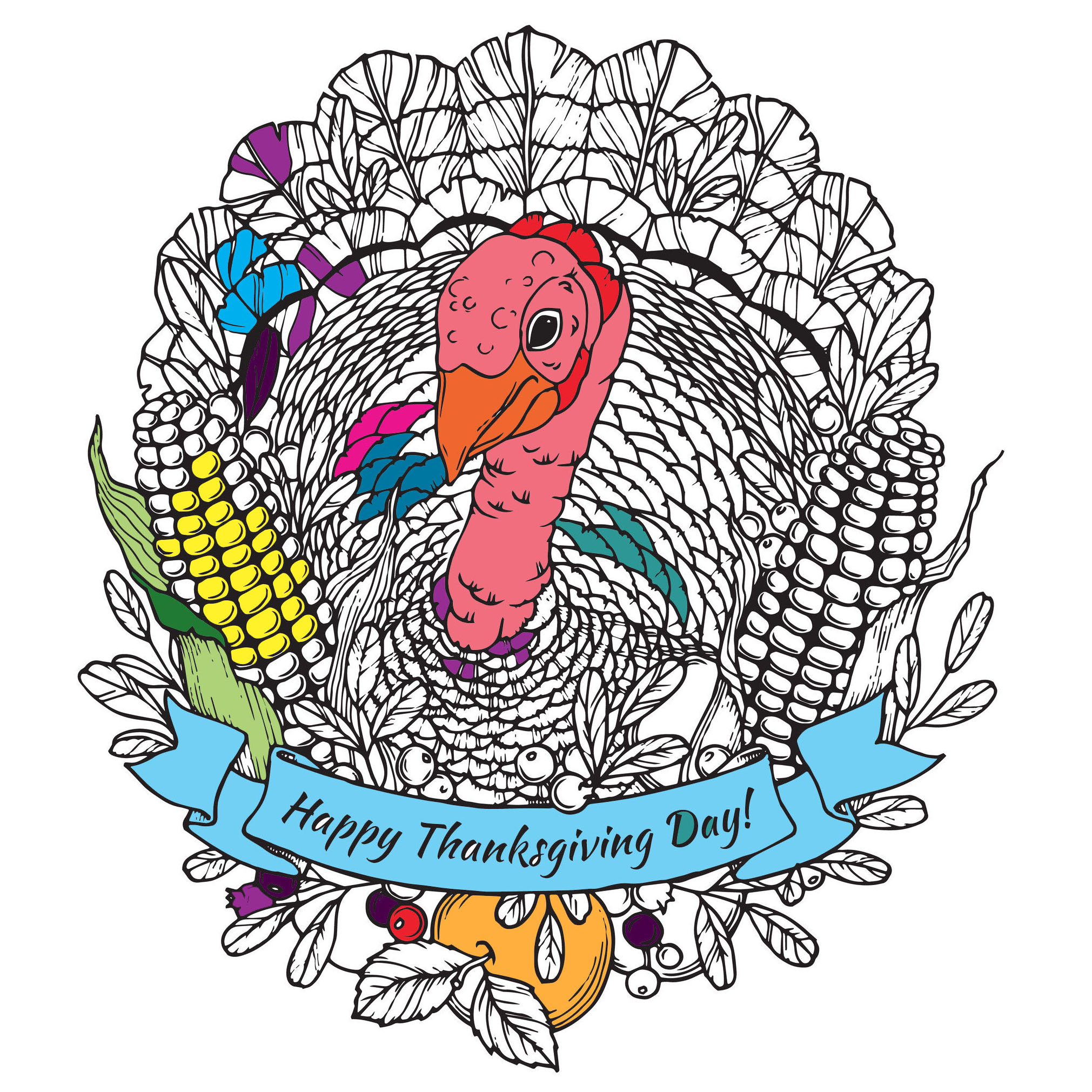 Happy Thanksgiving Turkey Mandala By Frauleinfreya
