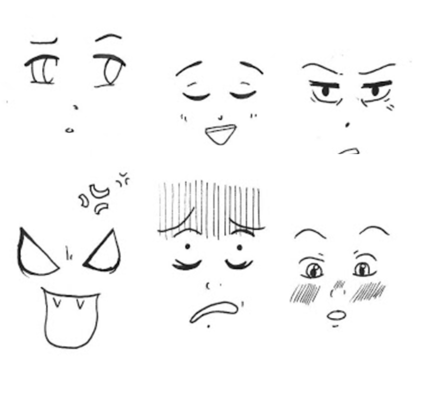 Facial expressions Coloring pages