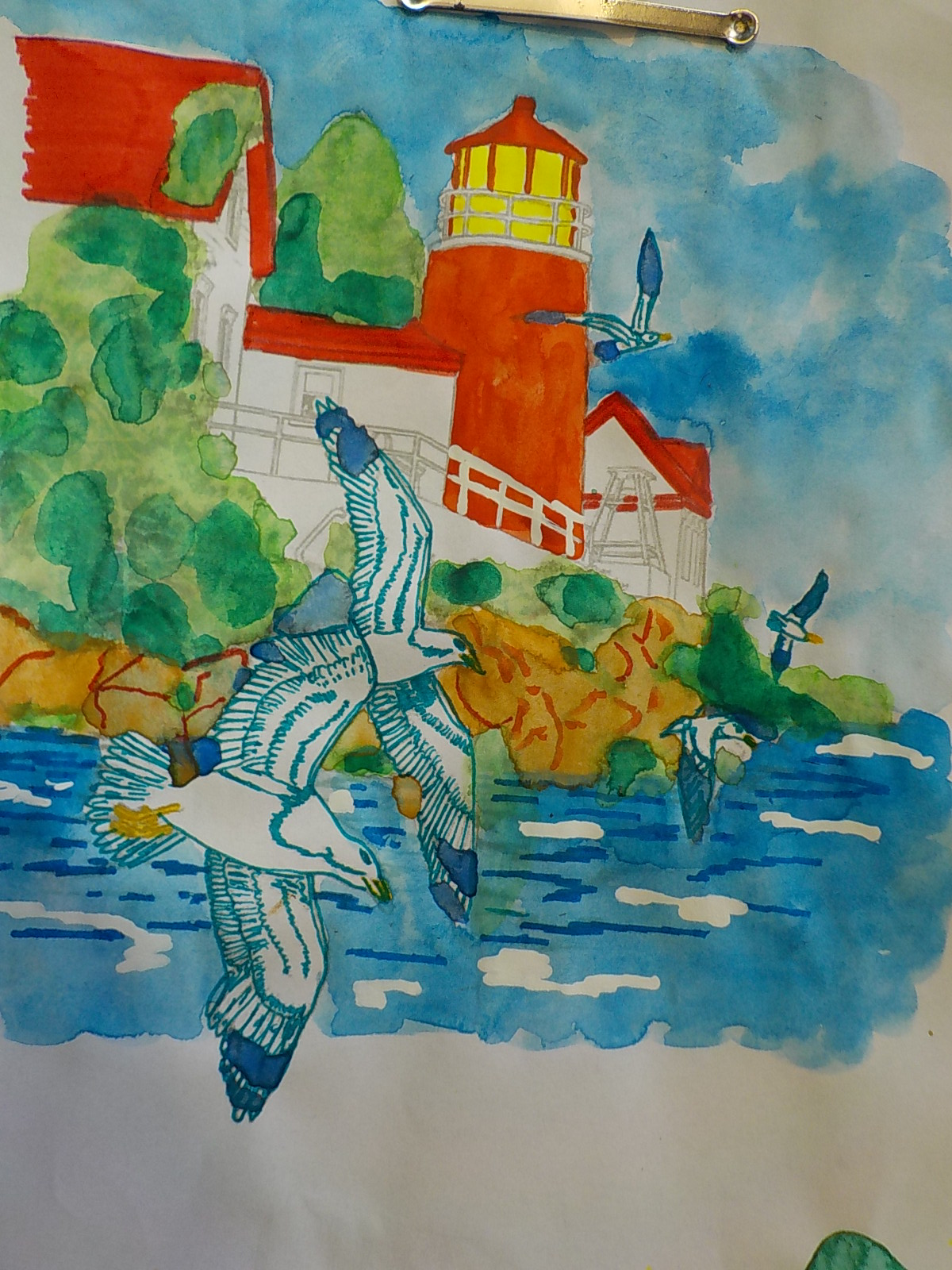Coloring Tutorial Watercolor Marine Landscape By