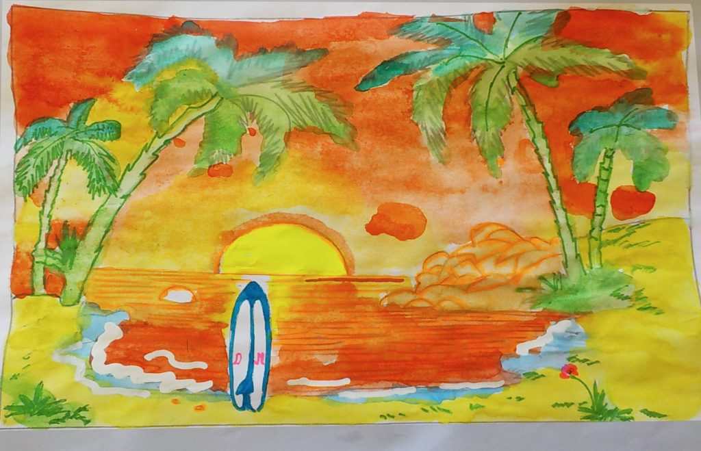 Tutorial : Watercolor : Surf & Beach By Domandalas - Coloring Pages For  Adults