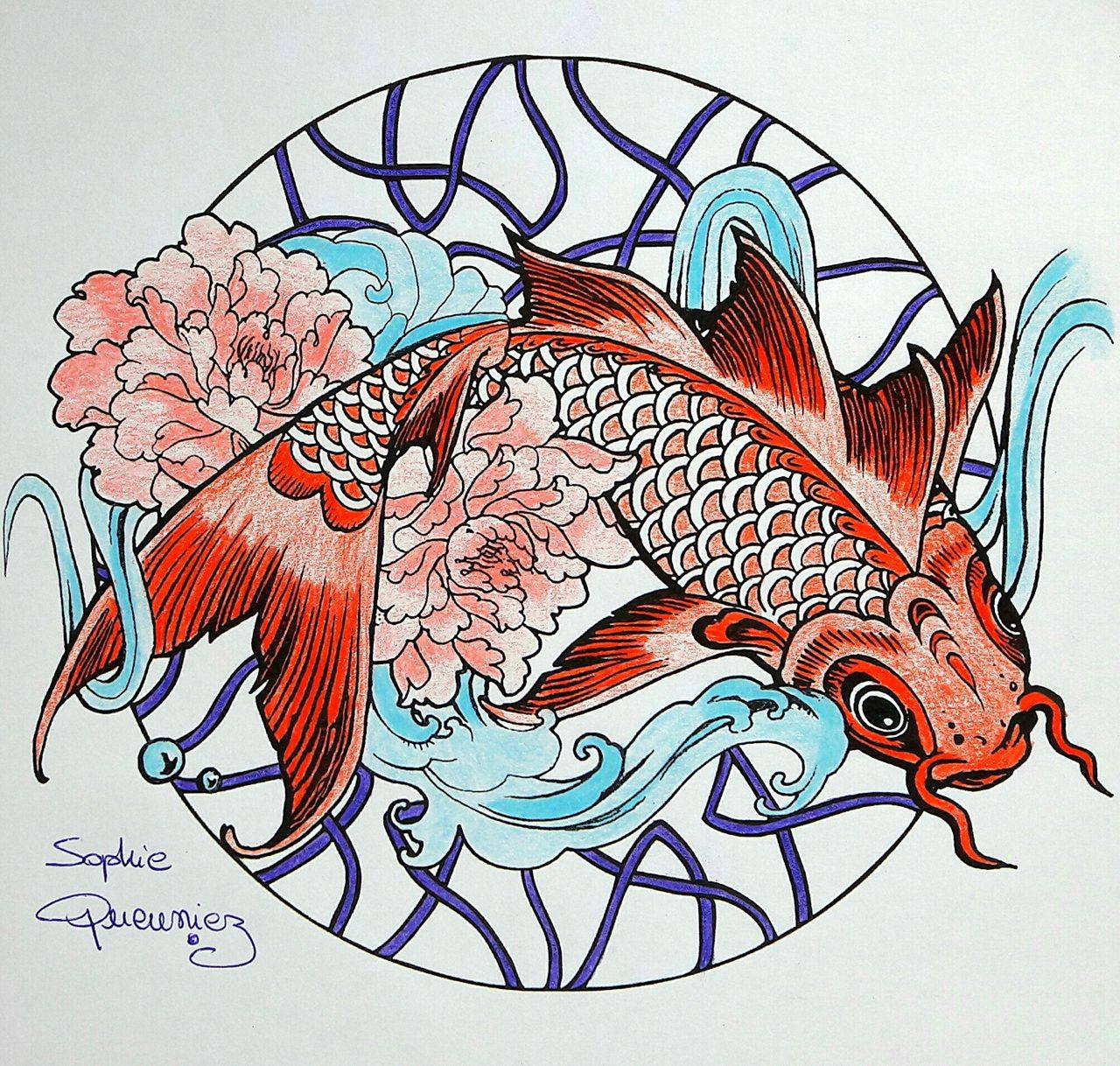 Coloring Pages For Adults Tutorial : Coloring tutorial carp mandala with colouring pencils by