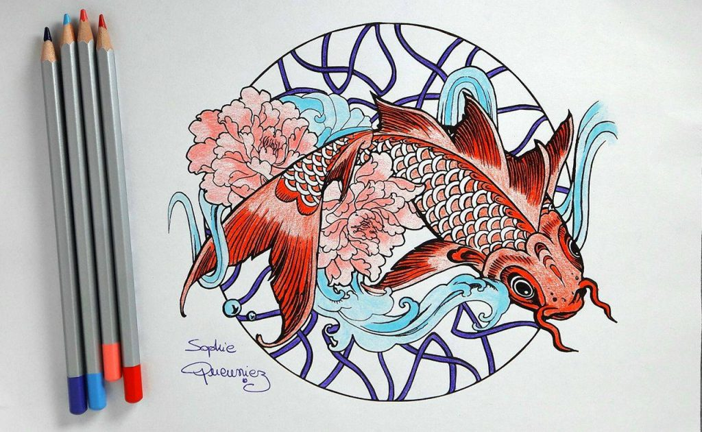Tutorial Carp Mandala With Colouring Pencils By Sophie Coloring