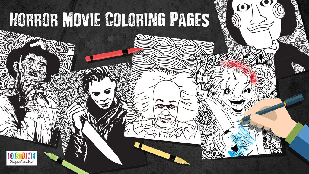 New classic horror movie coloring pages coloring pages Horror coloring book for adults