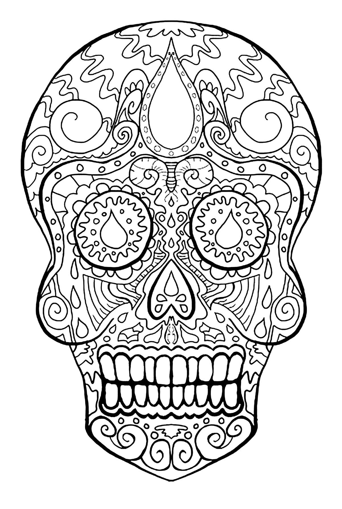 - Skull Dia De Los Muertos - El Dia De Los Muertos Adult Coloring Pages