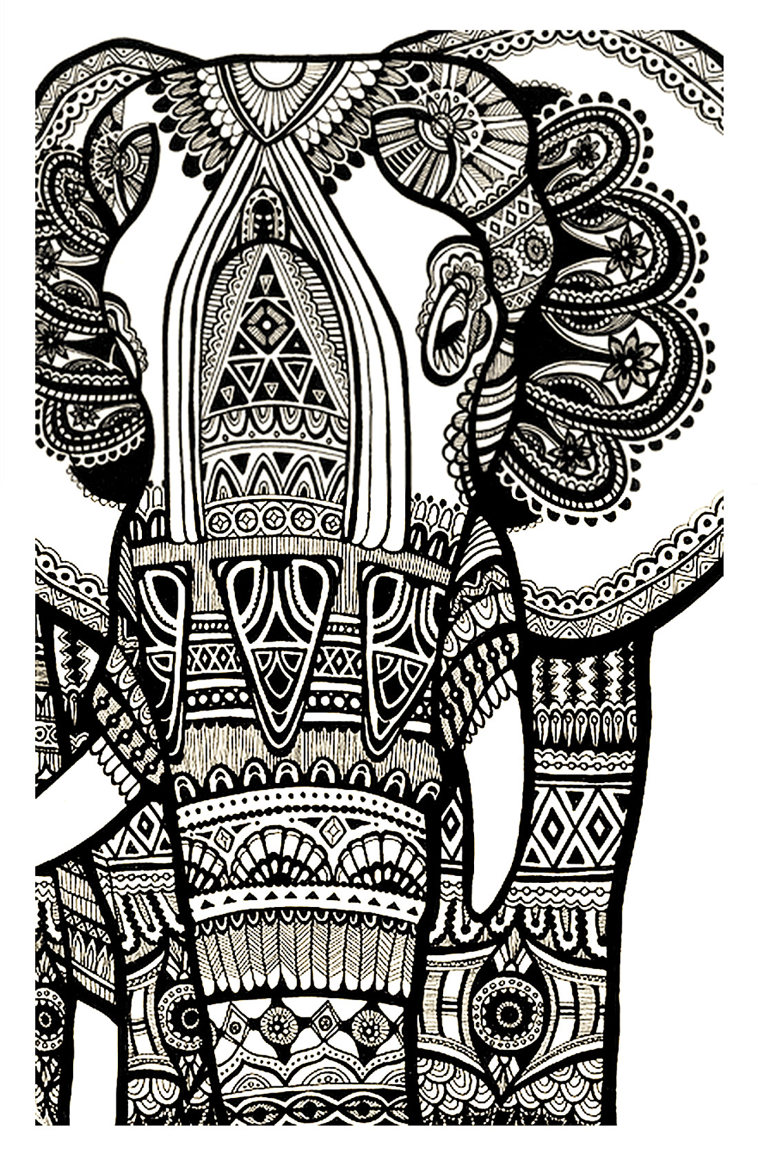 Coloring Page Elephant Te Print For Free A Magnificien Drawn With Zentangle Patterns