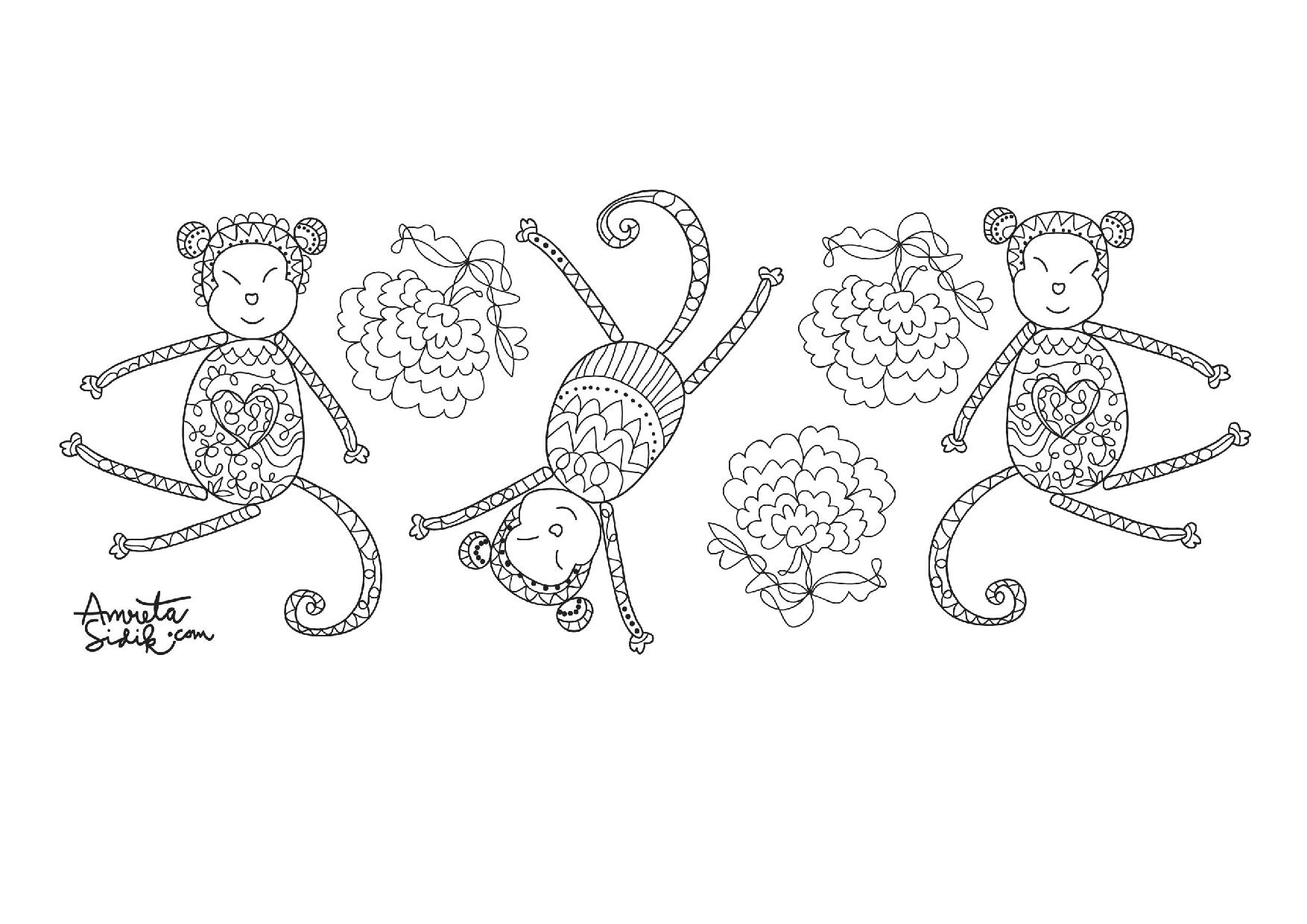 year of the monkey 6 zen and anti stress coloring pages for