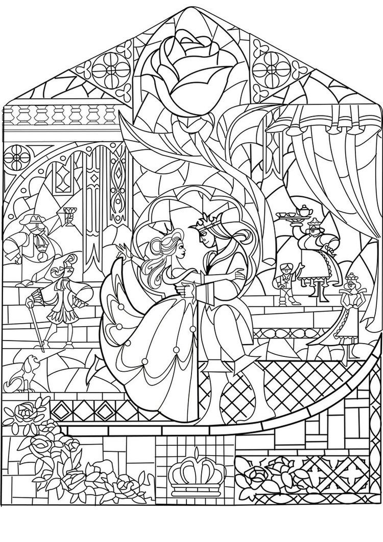 Prince princess art nouveau style - Return to childhood Adult Coloring Pages