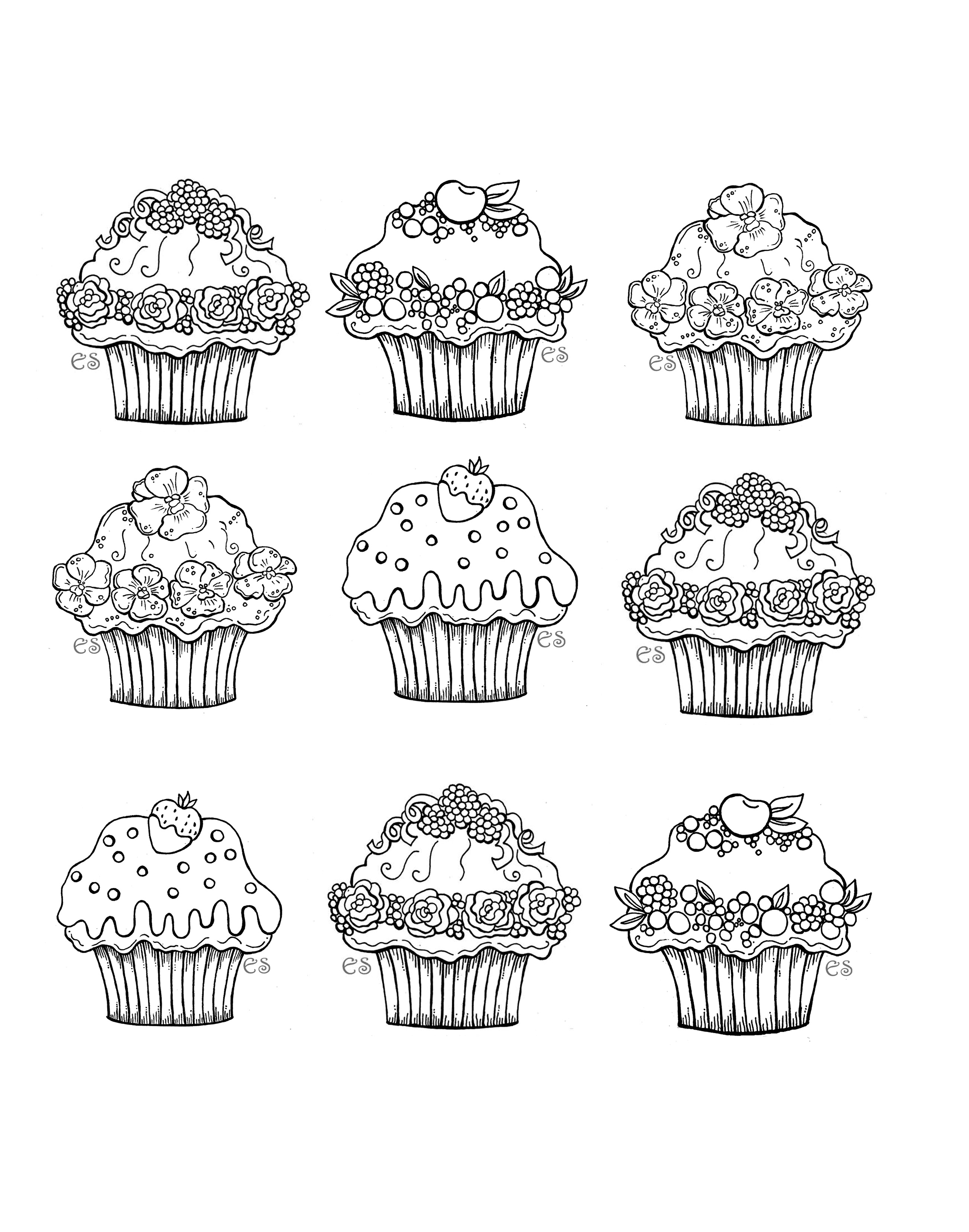 Six cute cupcakes - Cupcakes Adult Coloring Pages