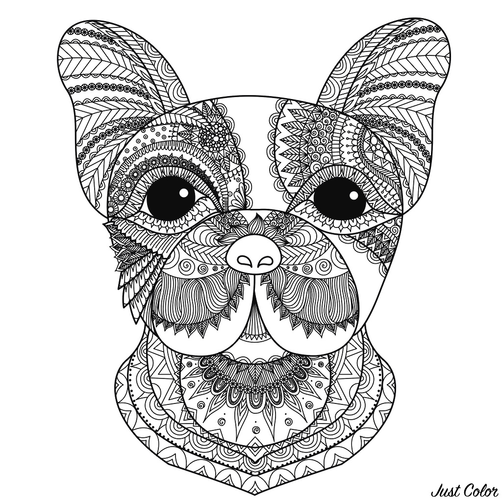 Dog Head Bimdeedee Dogs Adult Coloring Pages