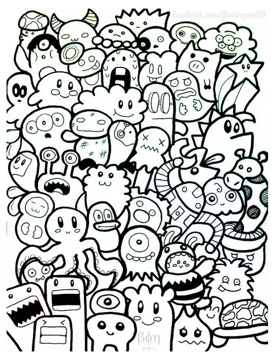 Coloring pages artist - A Doodle With Funny Characters Simple To Color From The Gallery Doodling