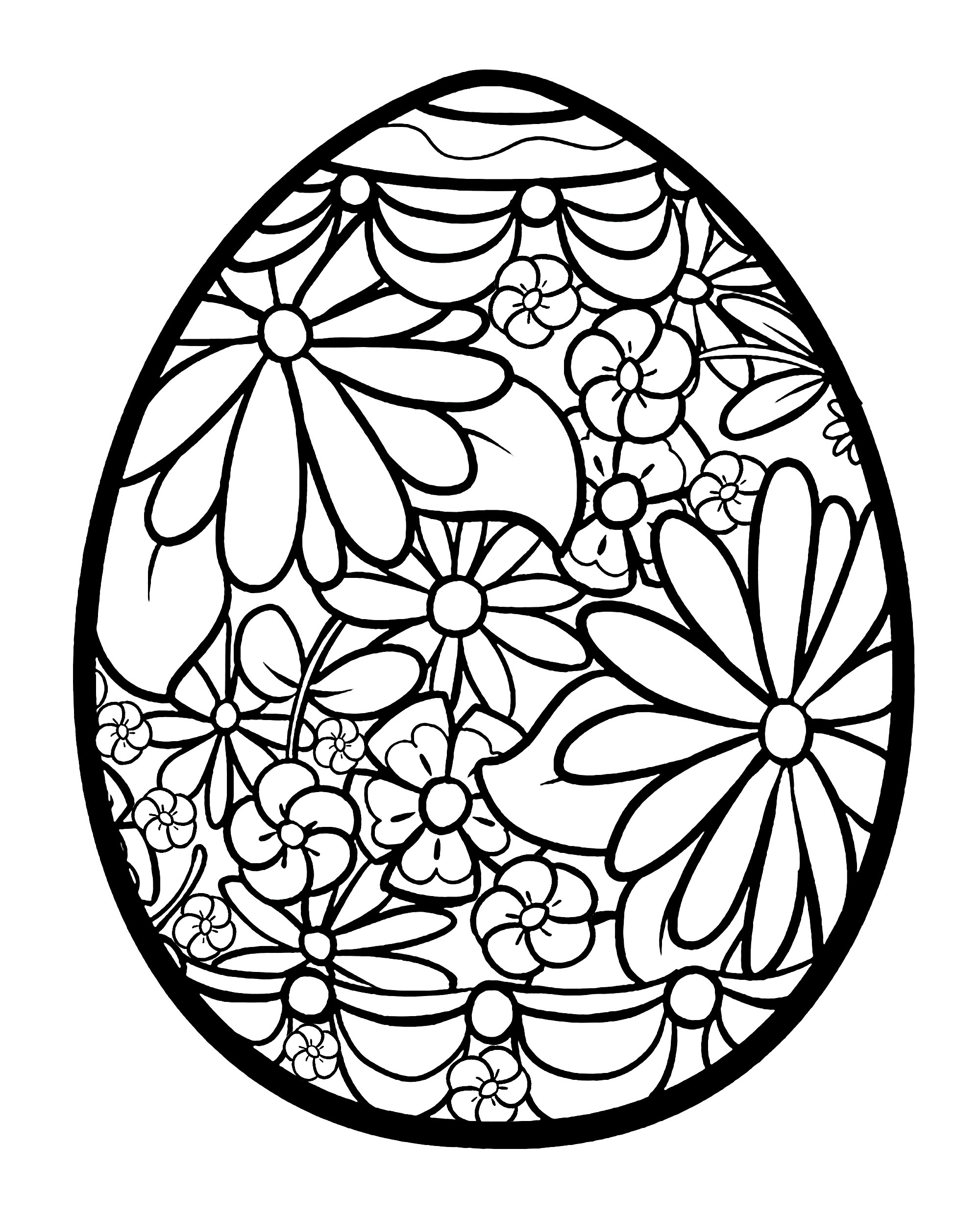 Easter Egg With Flowers Easter Adult Coloring Pages