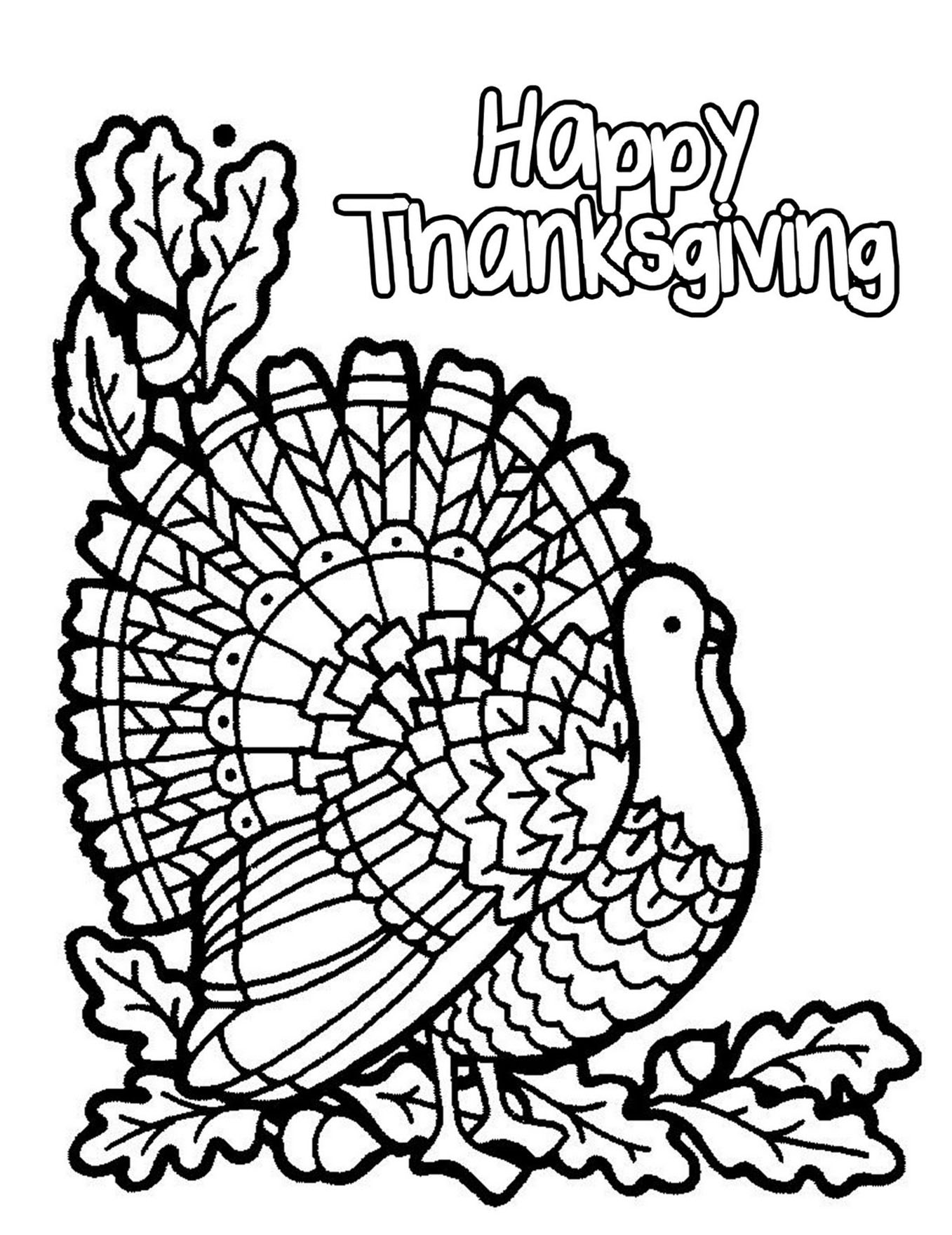 Halloween Simple Turkey Thanksgiving Adult Coloring Pages