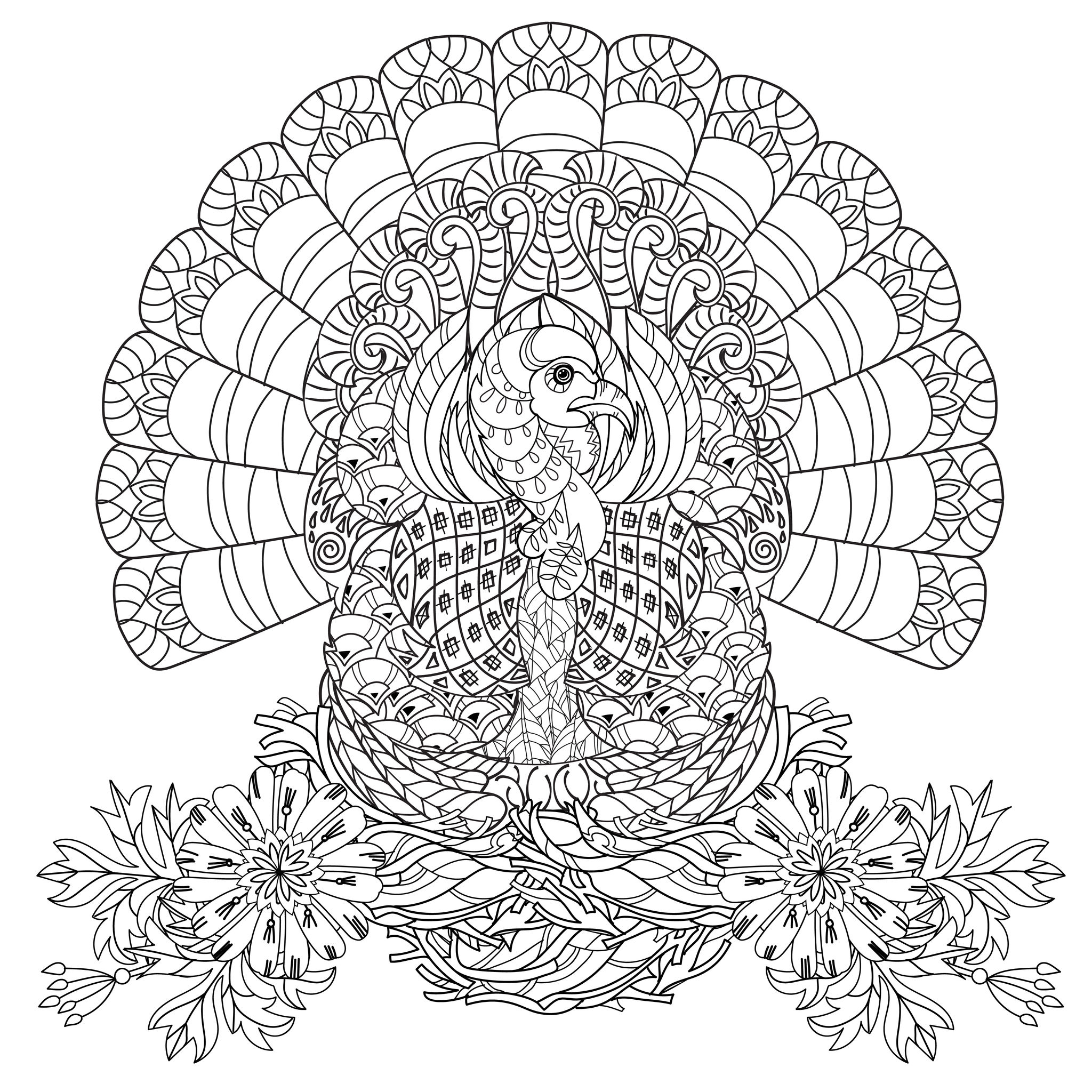 Beautiful Turkey Very Well Decorated With Flowers The Perfect Coloring Page To