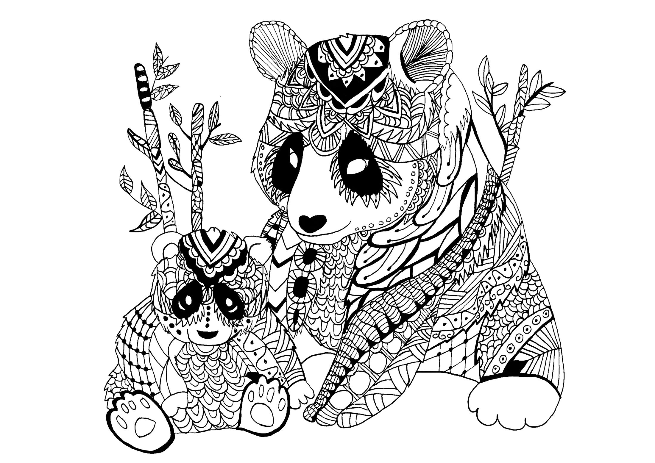Coloring Page Panda Celine Mother Child