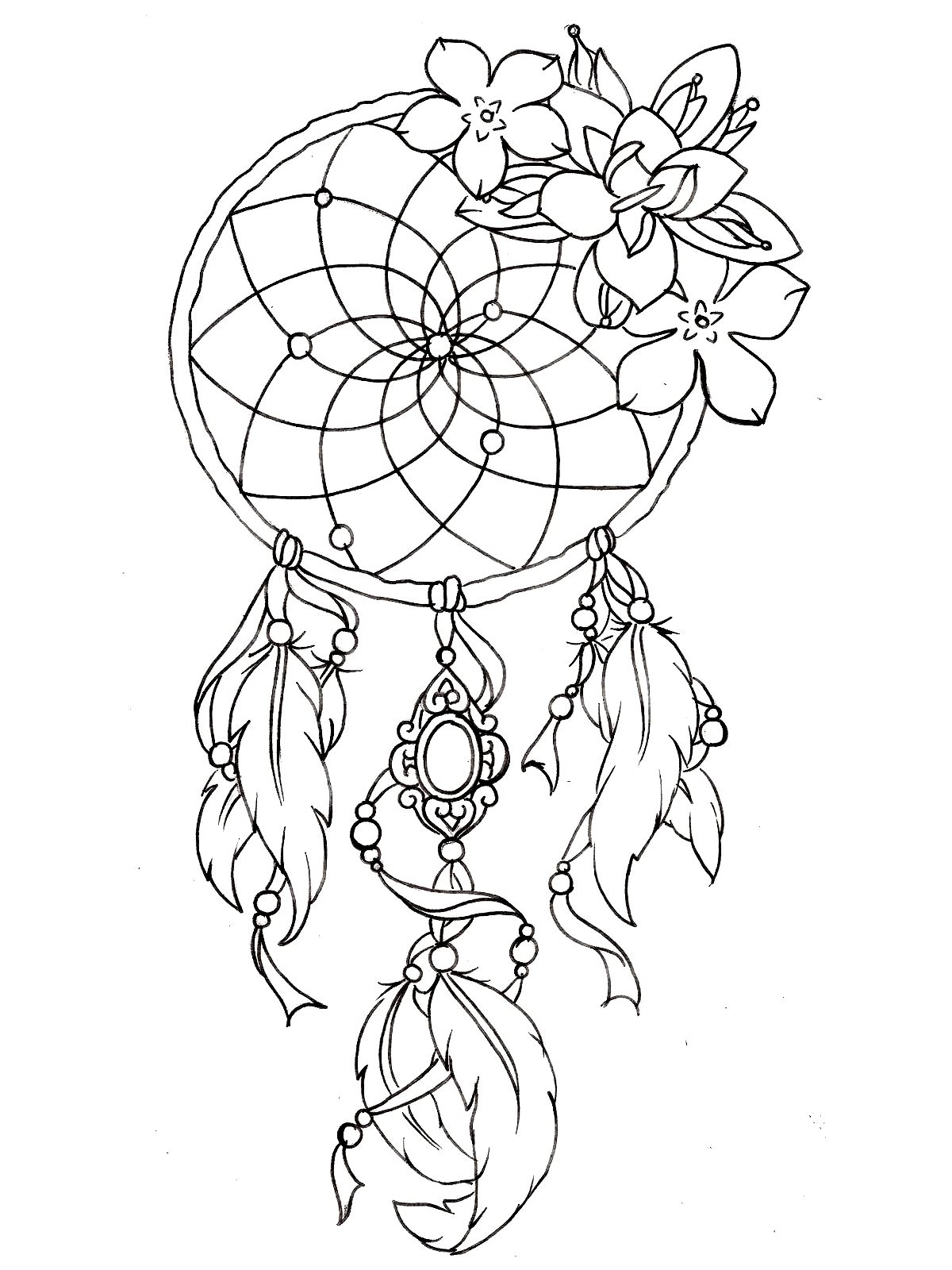 Coloring Page Dreamcatcher Tattoo Designs