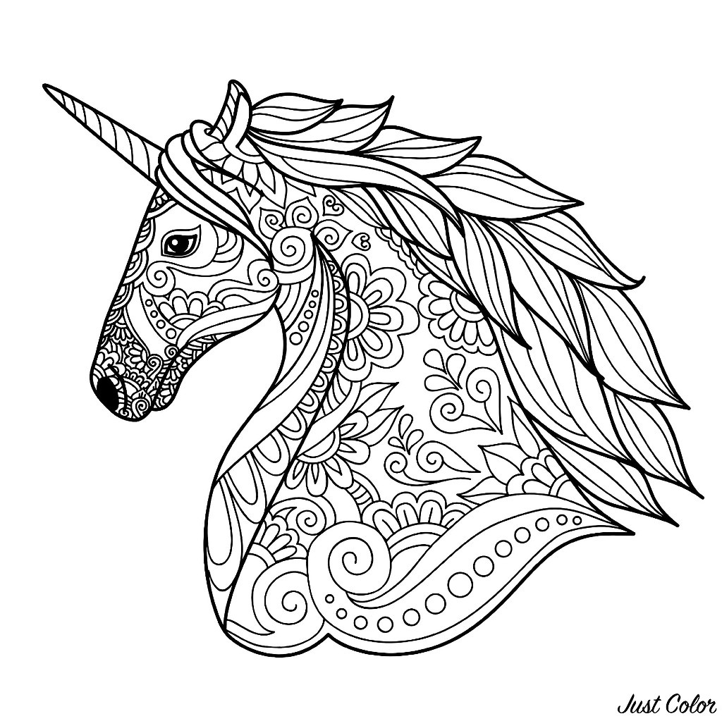 Unicorns head simple coloring page