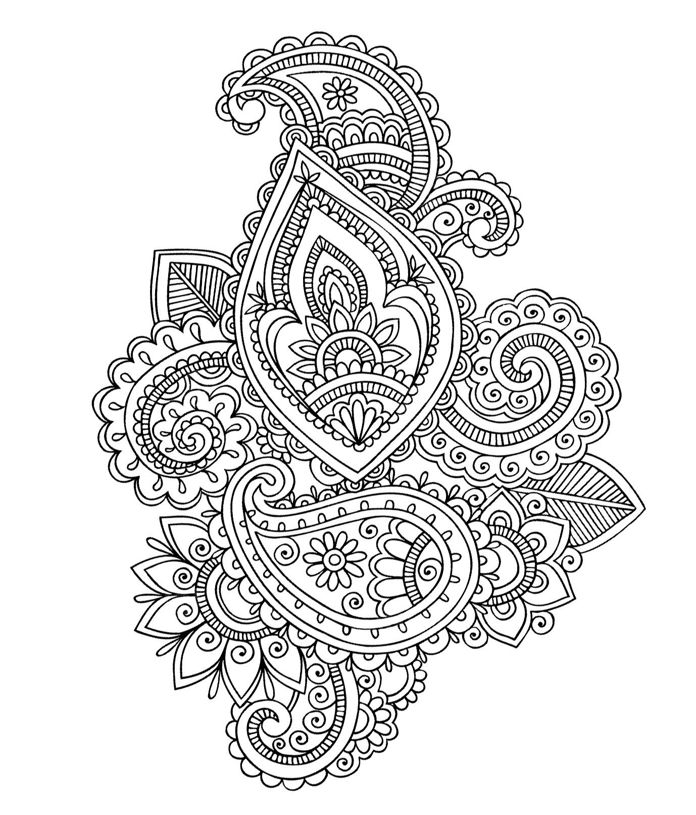 Paisley cashemire Oriental Coloring pages for adults
