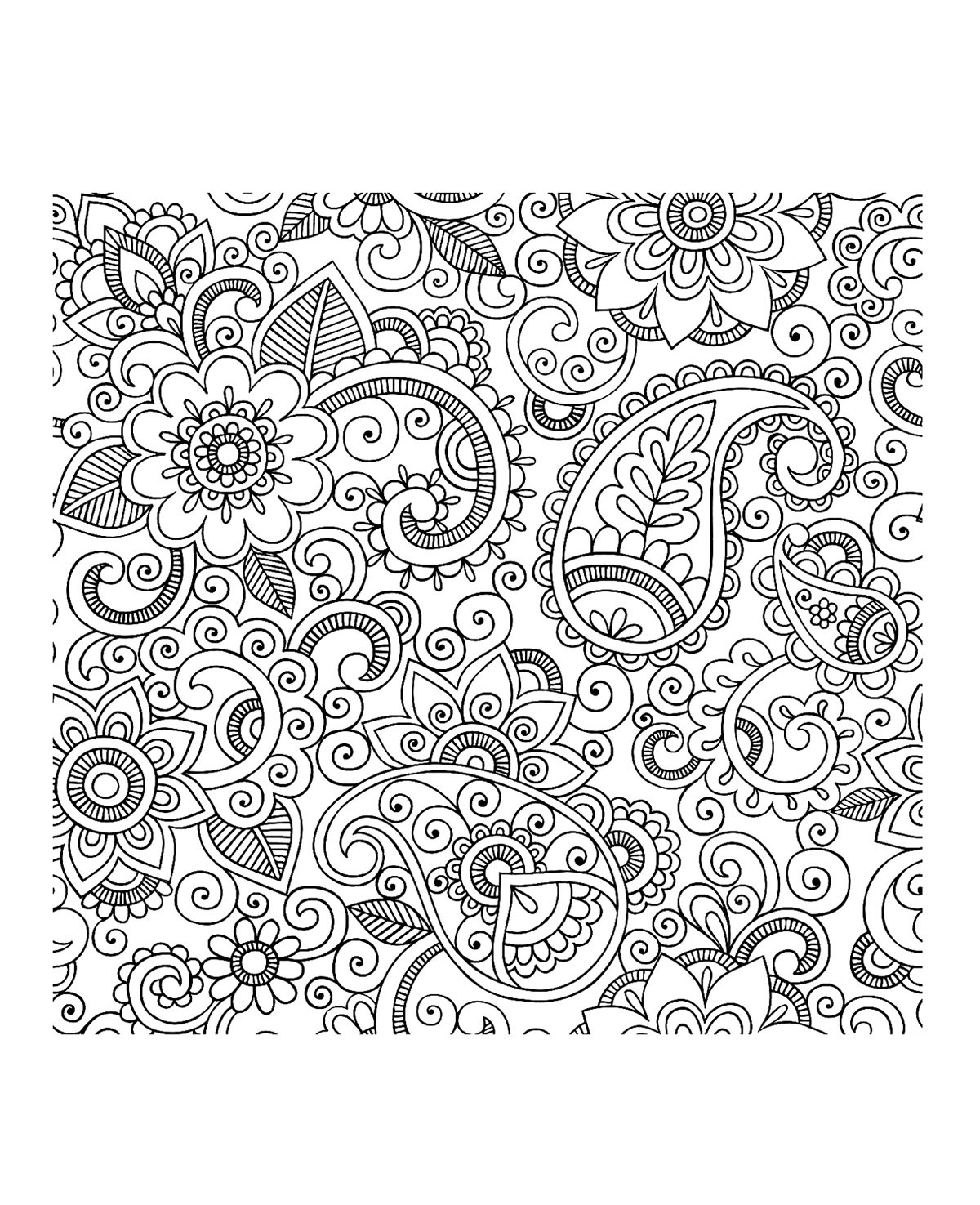 Bewitching image throughout printable adult coloring pages paisley
