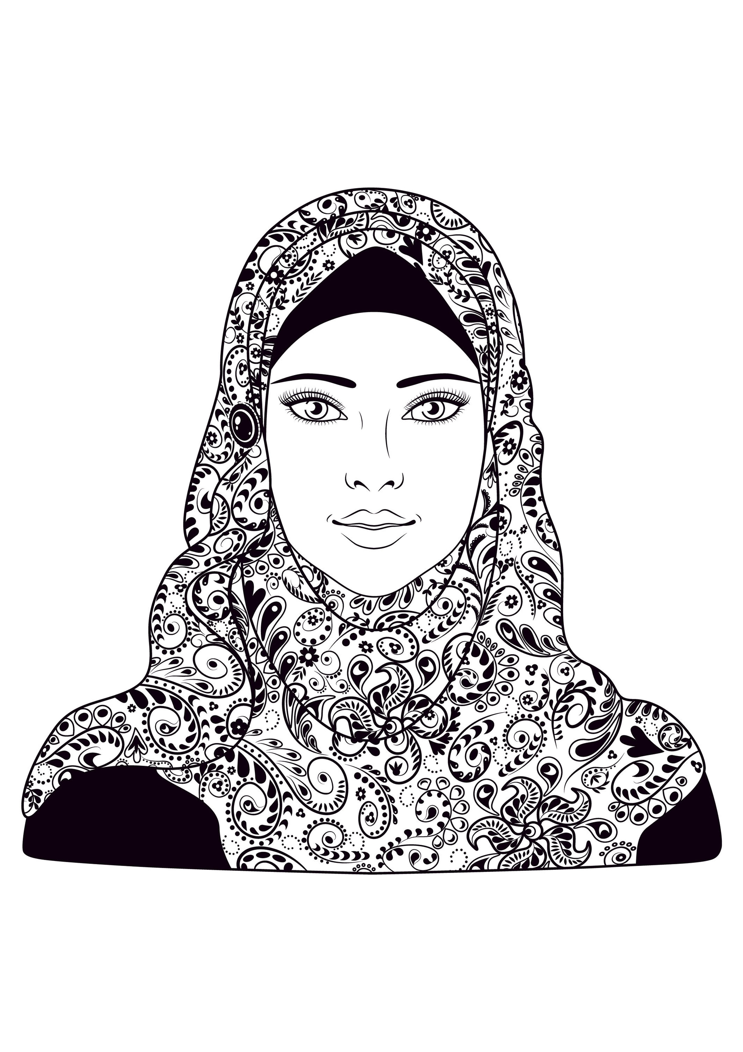 Woman headscarf - Oriental Adult Coloring Pages