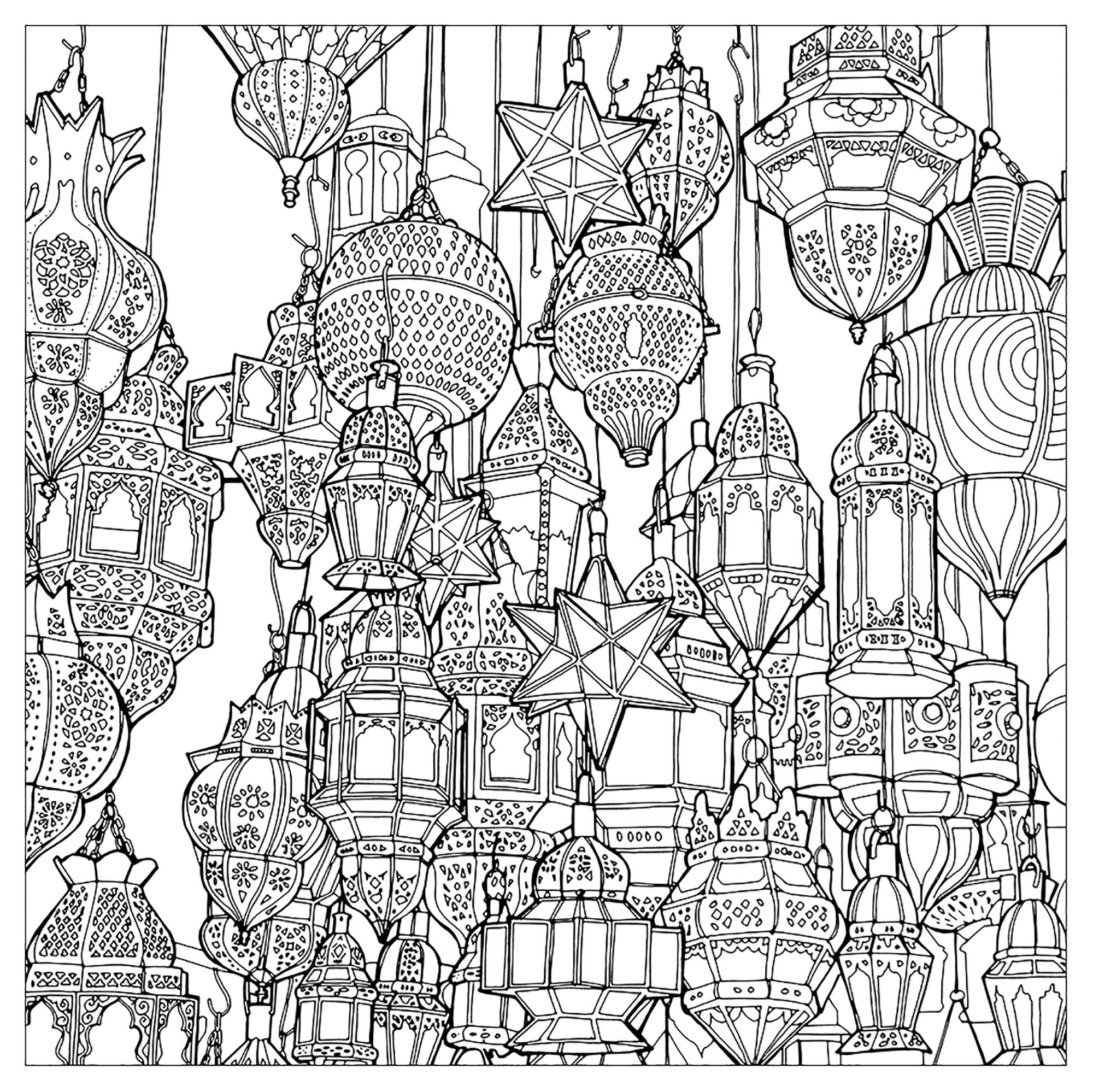 Multitude of morrocan lamps