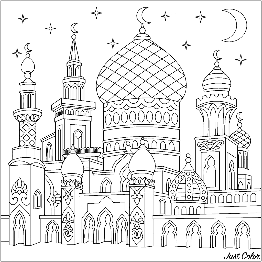 Turkish mosque, crescent moons, twinkling stars.