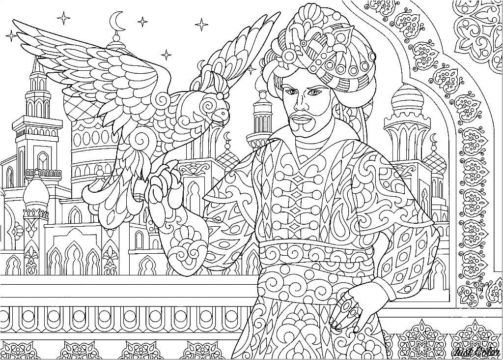Ottoman Sultan and falcon bird. Islamic filigree decor, arabic mosque, moon and stars on the background.
