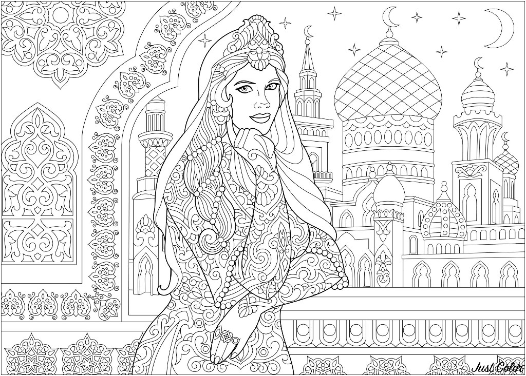 A stylized Middle-Eastern Princess, Islamic filigree decor, arabic mosque, crescent moons and stars on the background.
