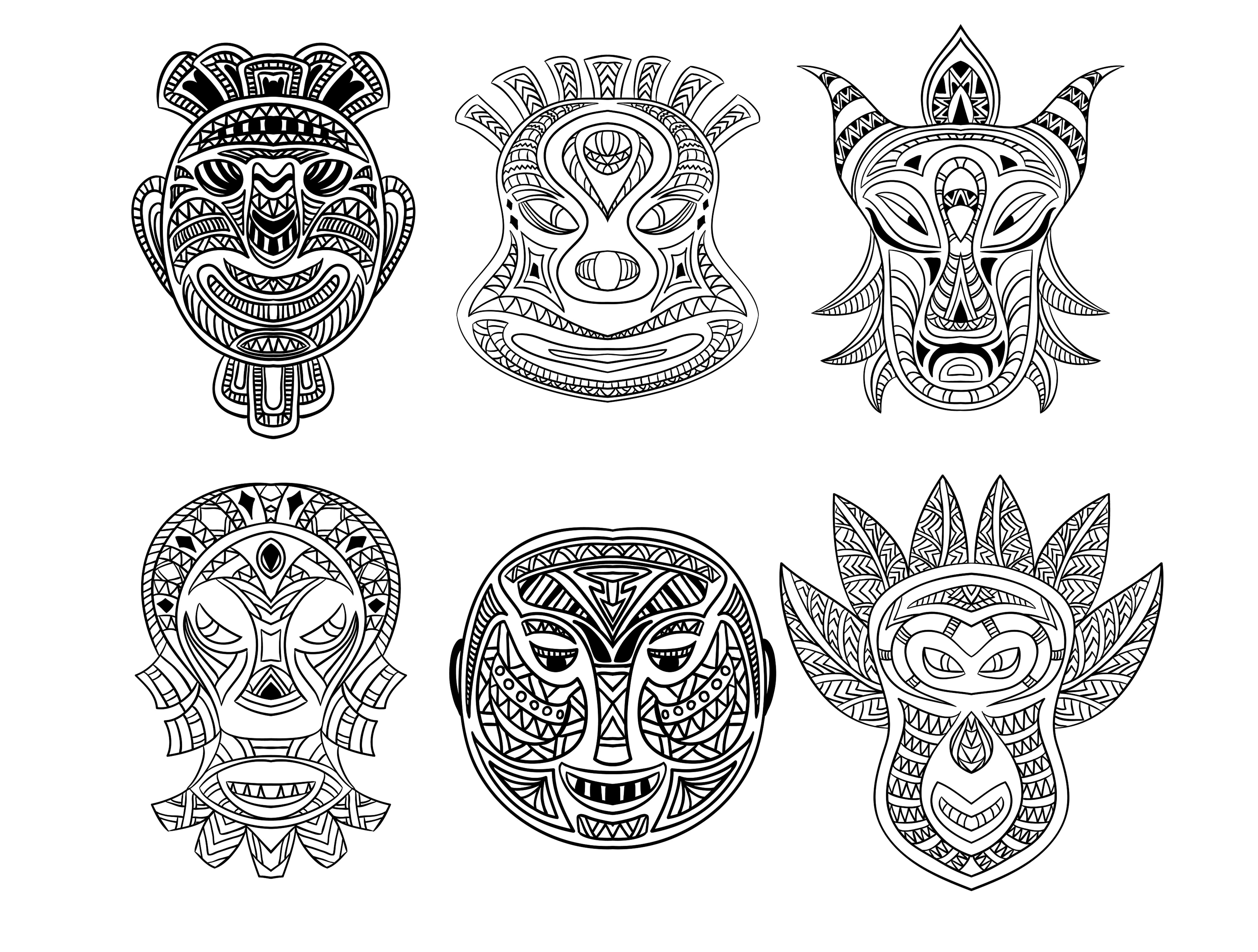 6 african masks Africa Coloring pages for adults JustColor