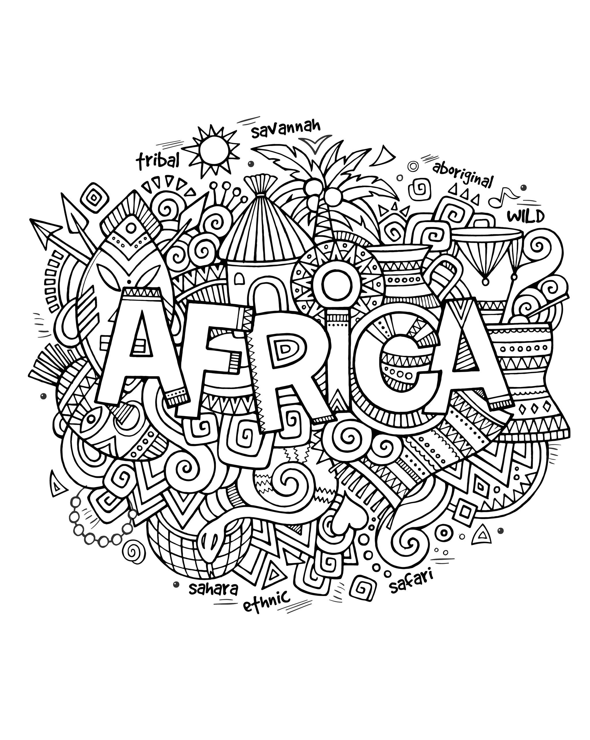 Drawing with the word 'Africa' and a lot of symbols of this continent around