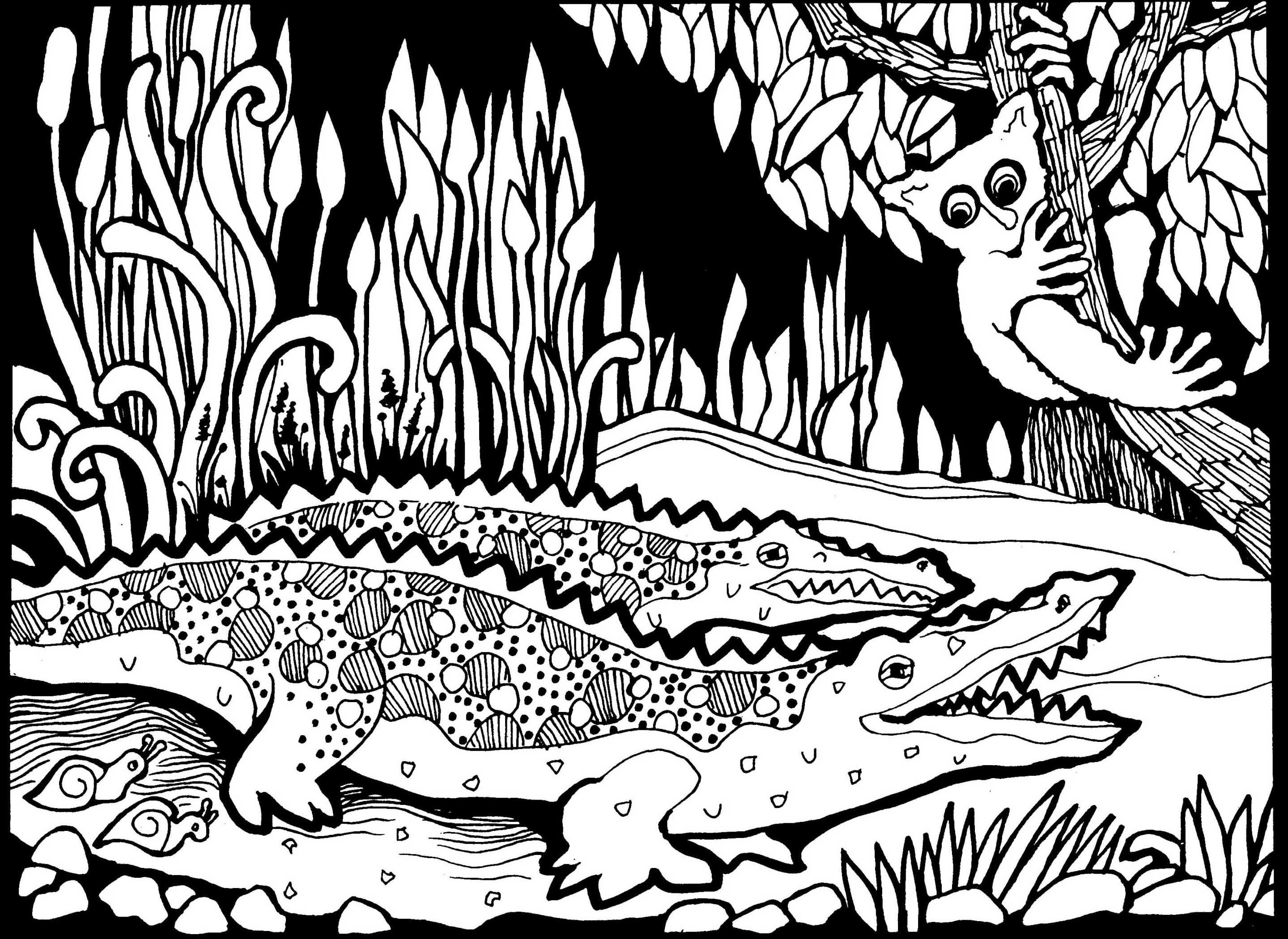 Africa crocodiles - Africa Adult Coloring Pages