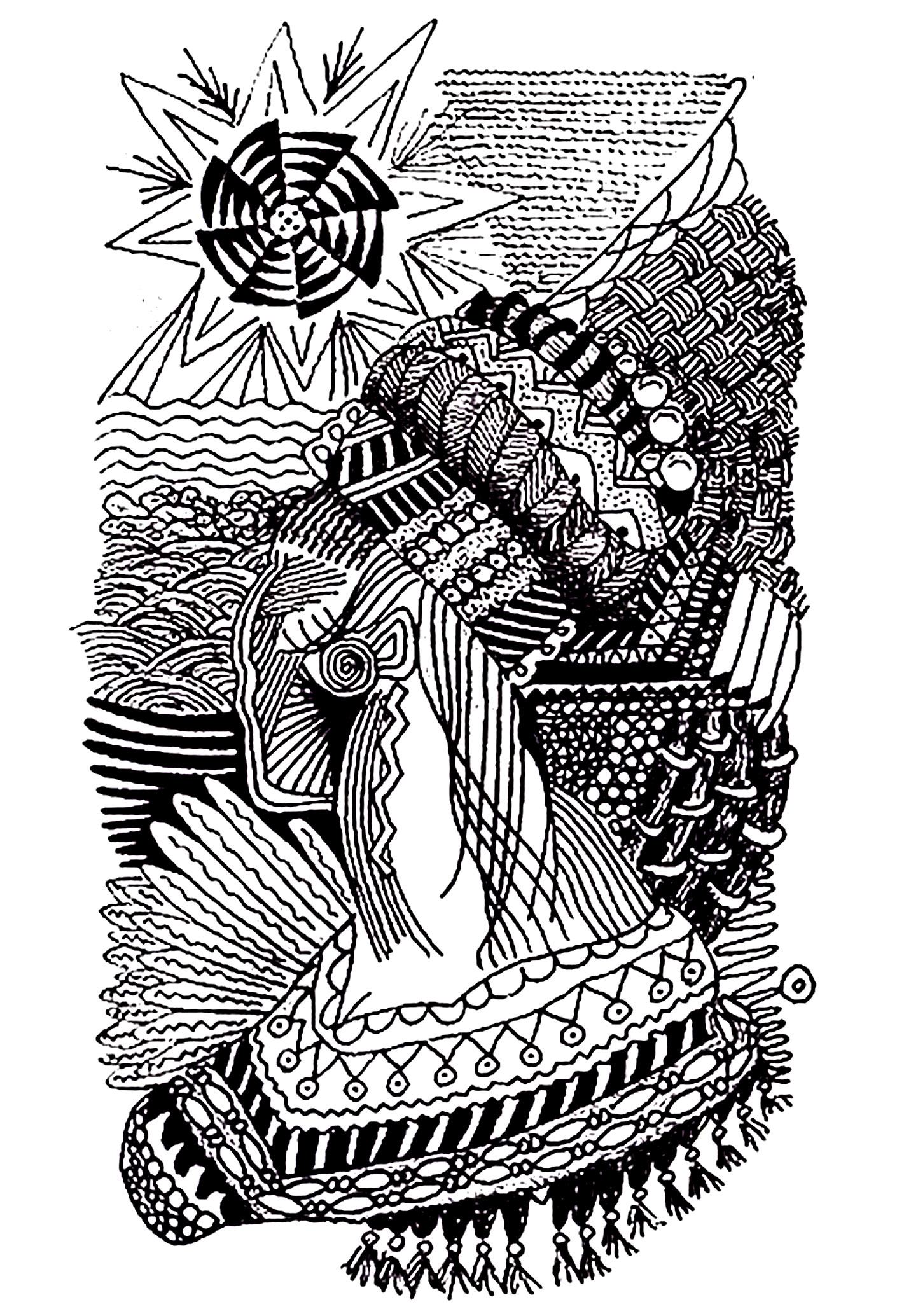 Zentangle style drawing, of an african woman