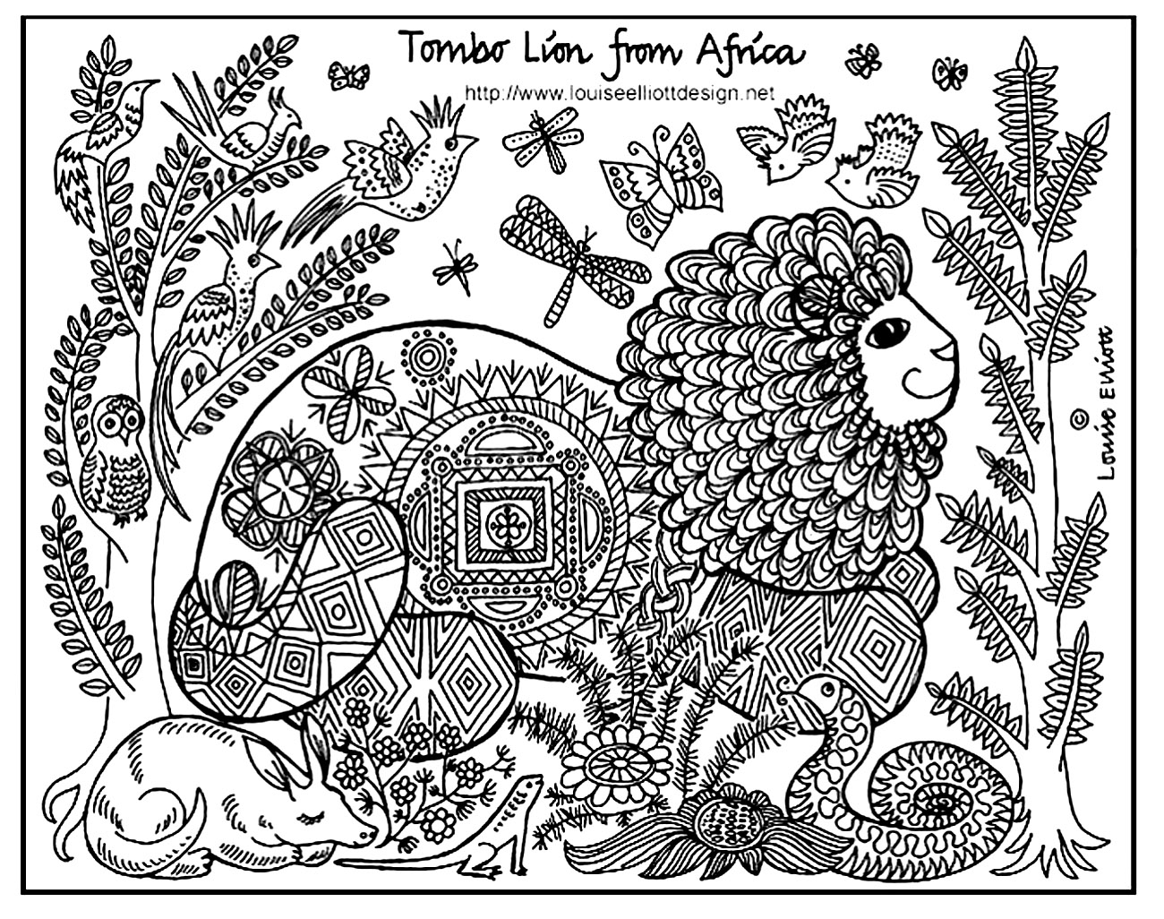 Drawing 'Tombo Lion of Africa' (source : Louise Elliot)