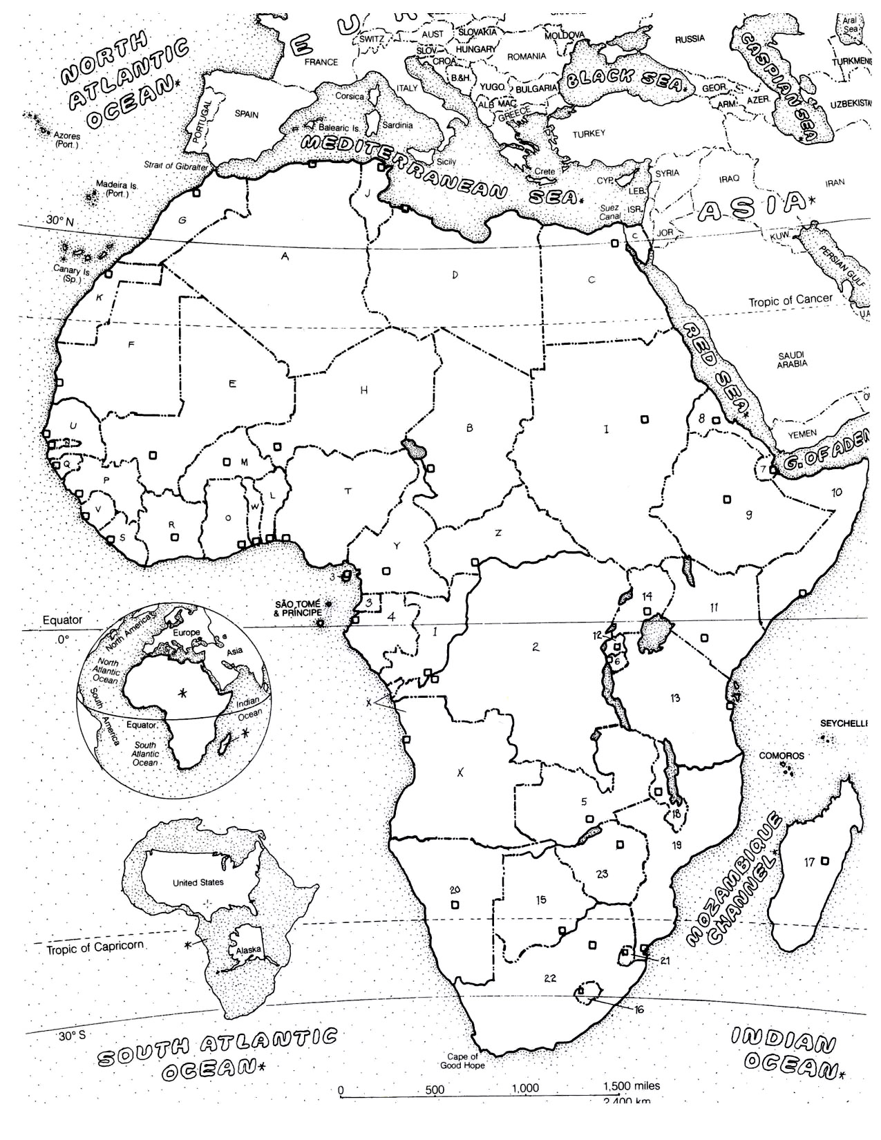 Africa Map Africa Adult Coloring Pages