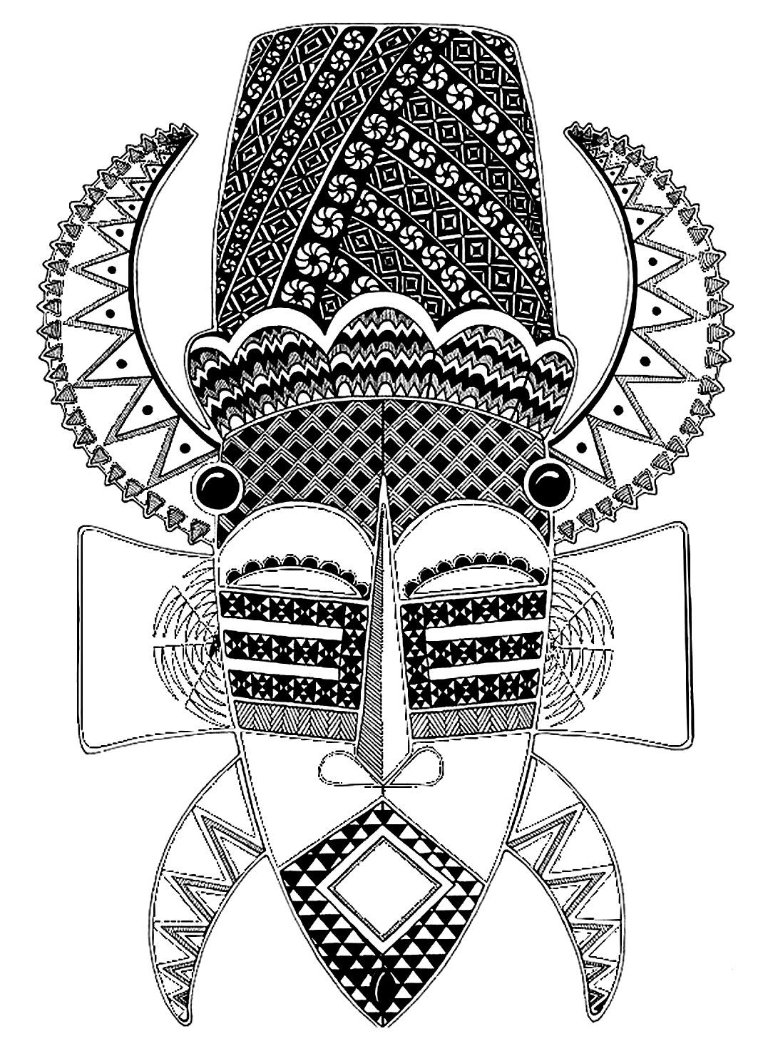 African mask, full of little details
