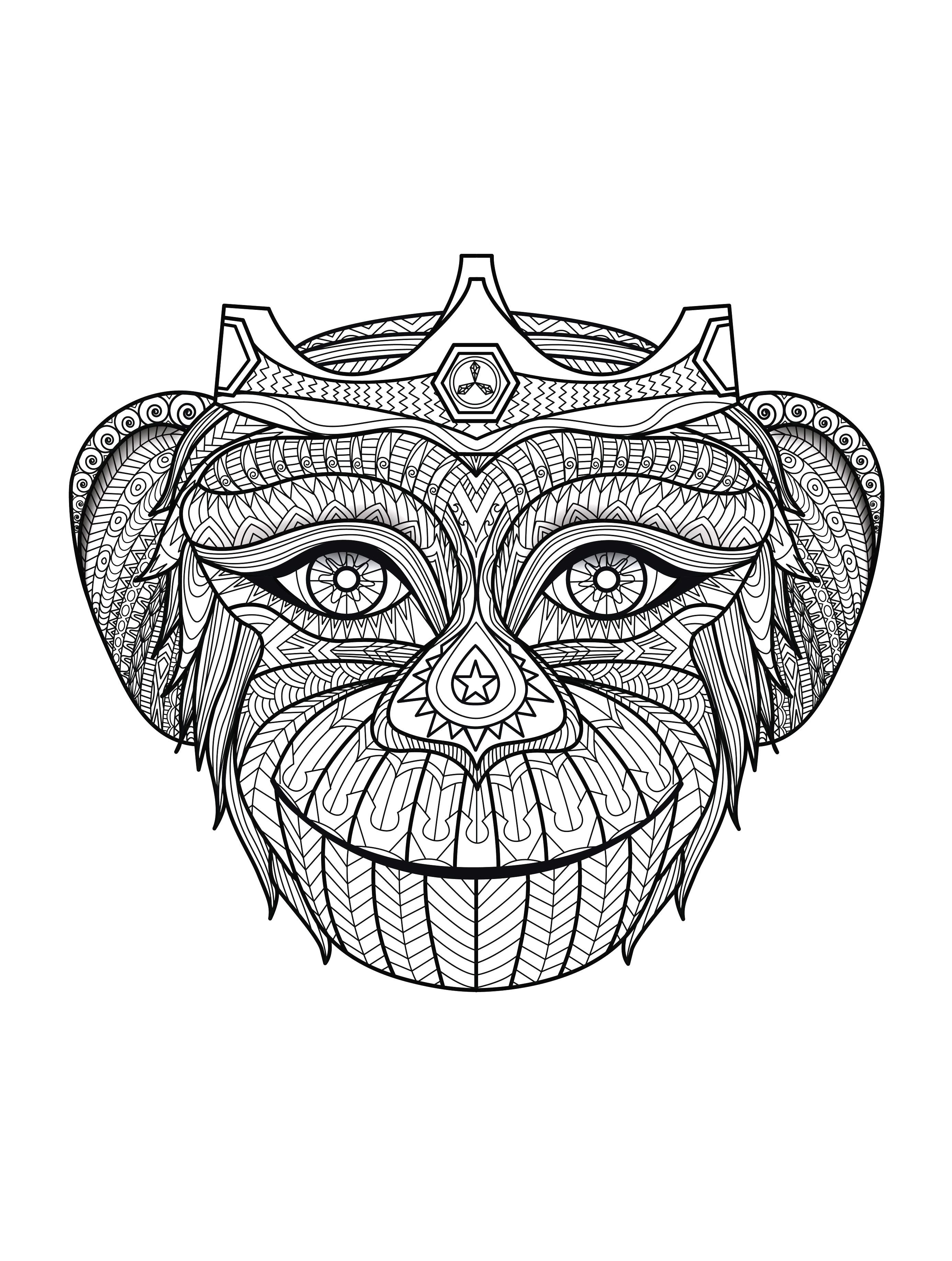 Africa monkey head africa adult coloring pages page 2
