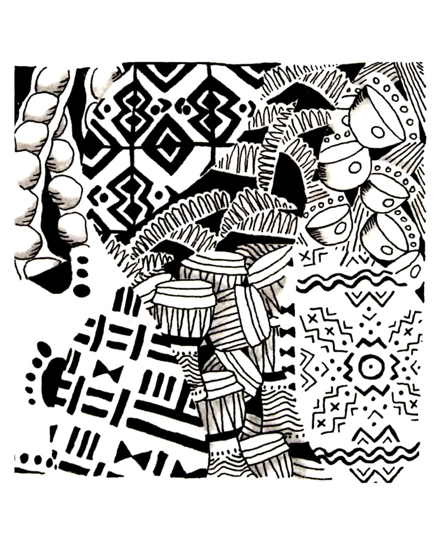 Africa symbols Africa Adult Coloring